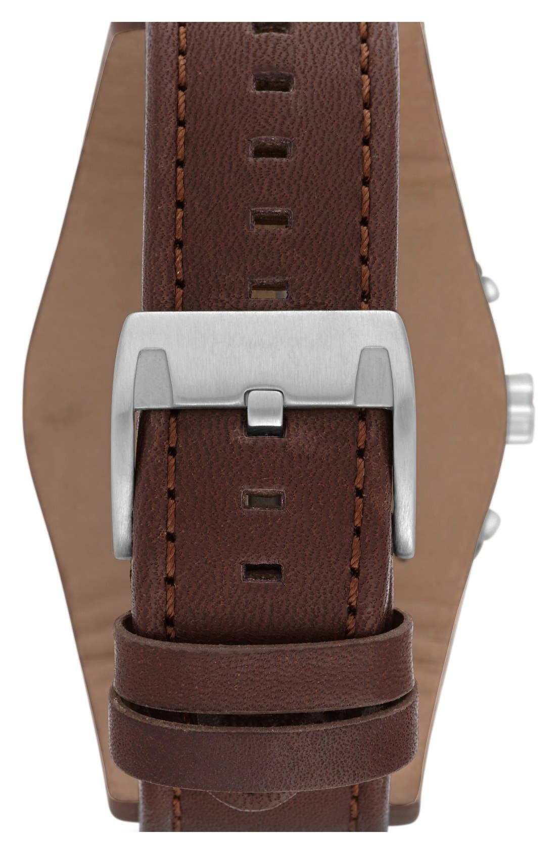 FOSSIL, 'Sport' Chronograph Leather Cuff Watch, 44mm, Alternate thumbnail 2, color, BROWN