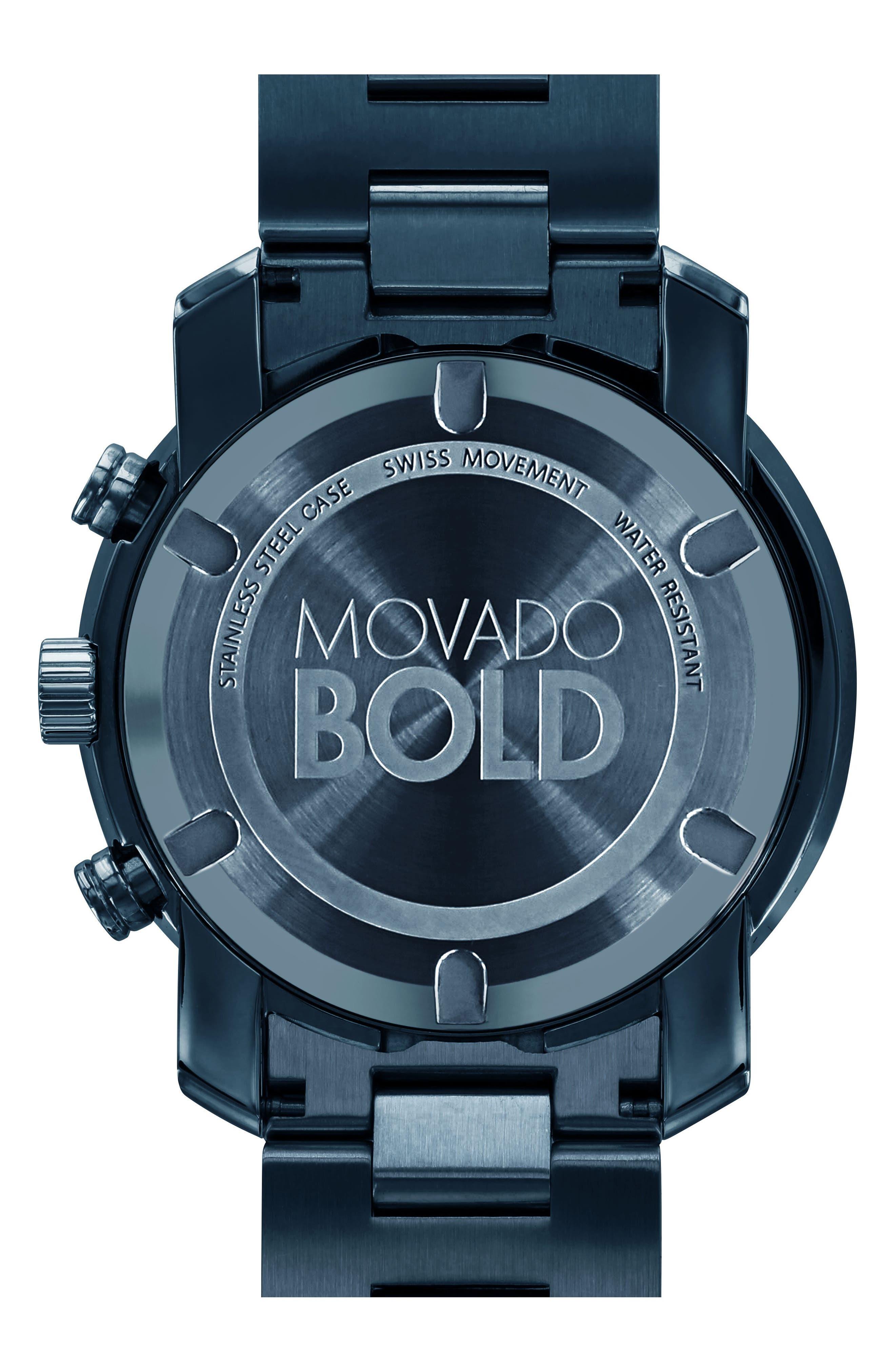 MOVADO, 'Bold' Chronograph Bracelet Watch, 44mm, Alternate thumbnail 2, color, BLUE