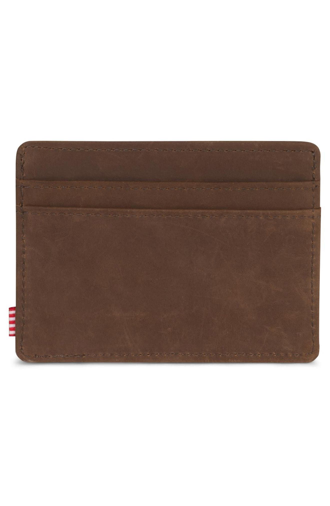 HERSCHEL SUPPLY CO., Charlie Nubuck Leather Card Case, Alternate thumbnail 2, color, NUBUCK BROWN