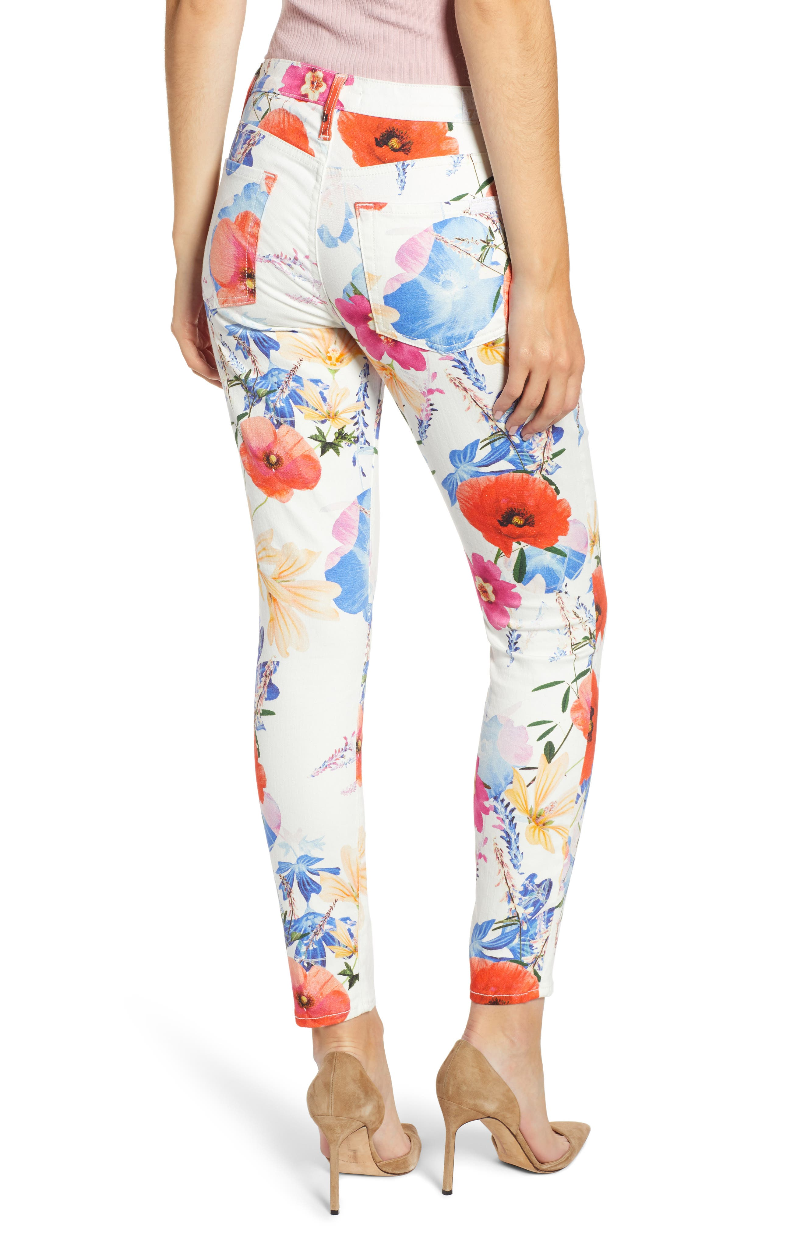 7 FOR ALL MANKIND<SUP>®</SUP>, The Ankle Skinny Jeans, Alternate thumbnail 2, color, SEASIDE POPPIES