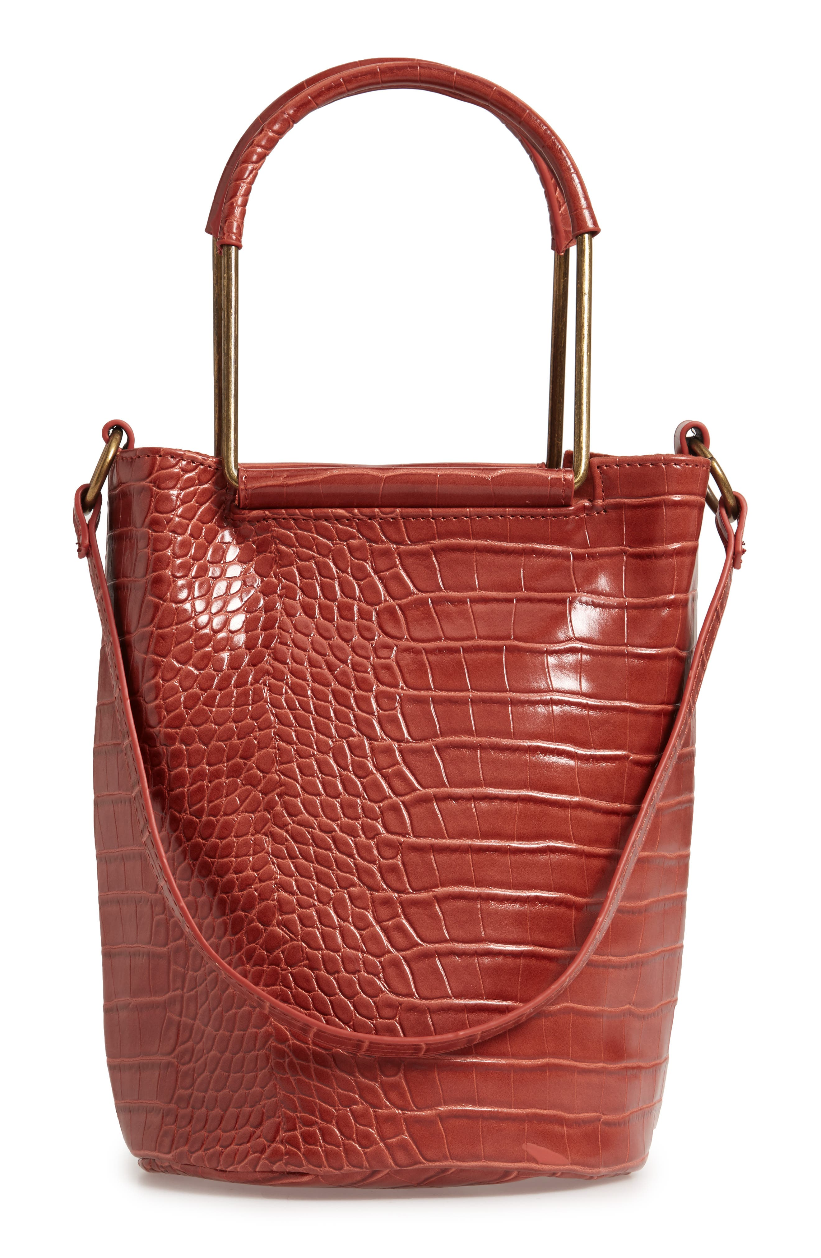 T-SHIRT & JEANS, Croc Embossed Faux Leather Tote, Alternate thumbnail 6, color, 810