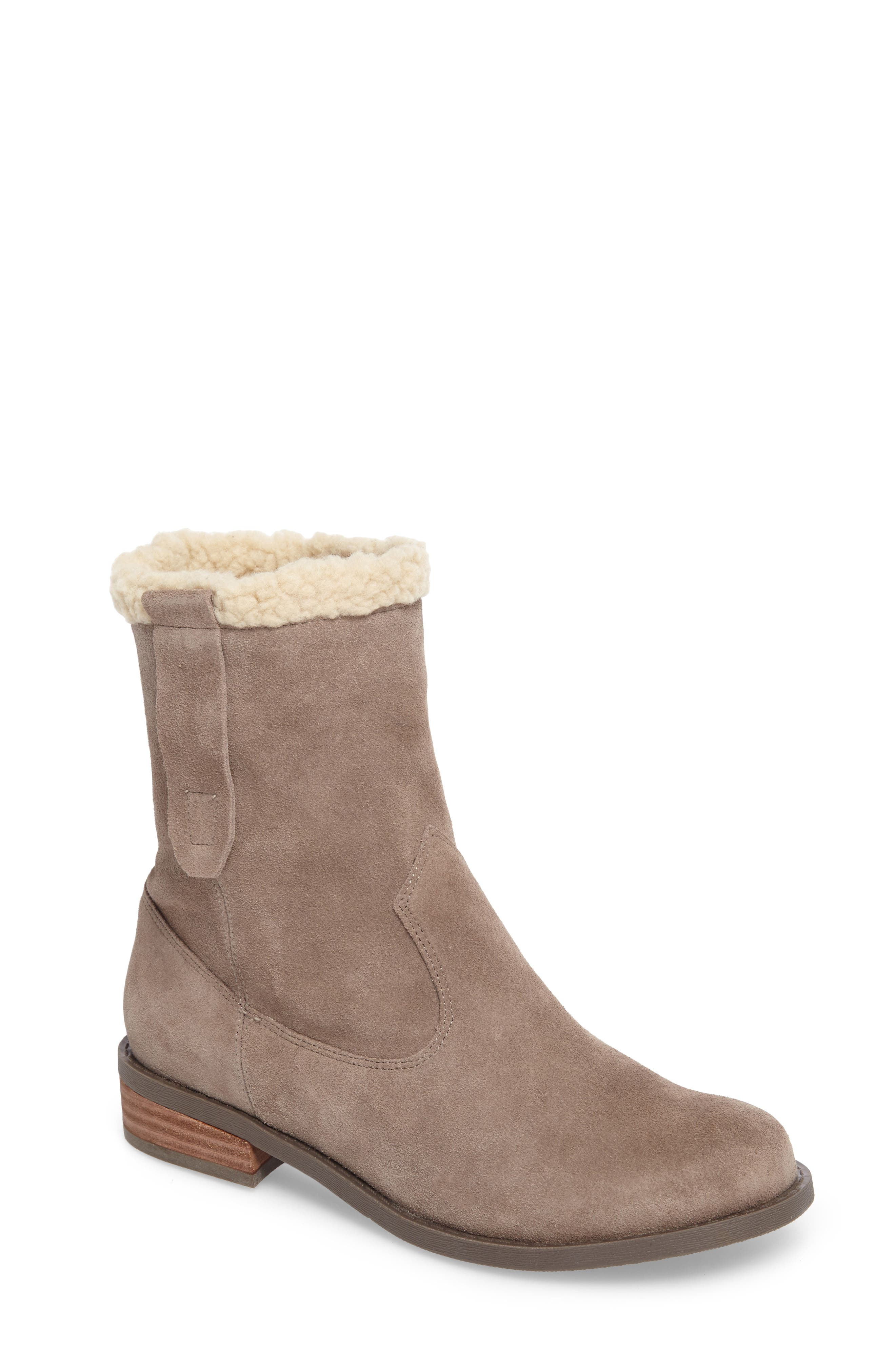 SOLE SOCIETY, Verona Faux Shearling Boot, Main thumbnail 1, color, DARK MUSHROOM SUEDE