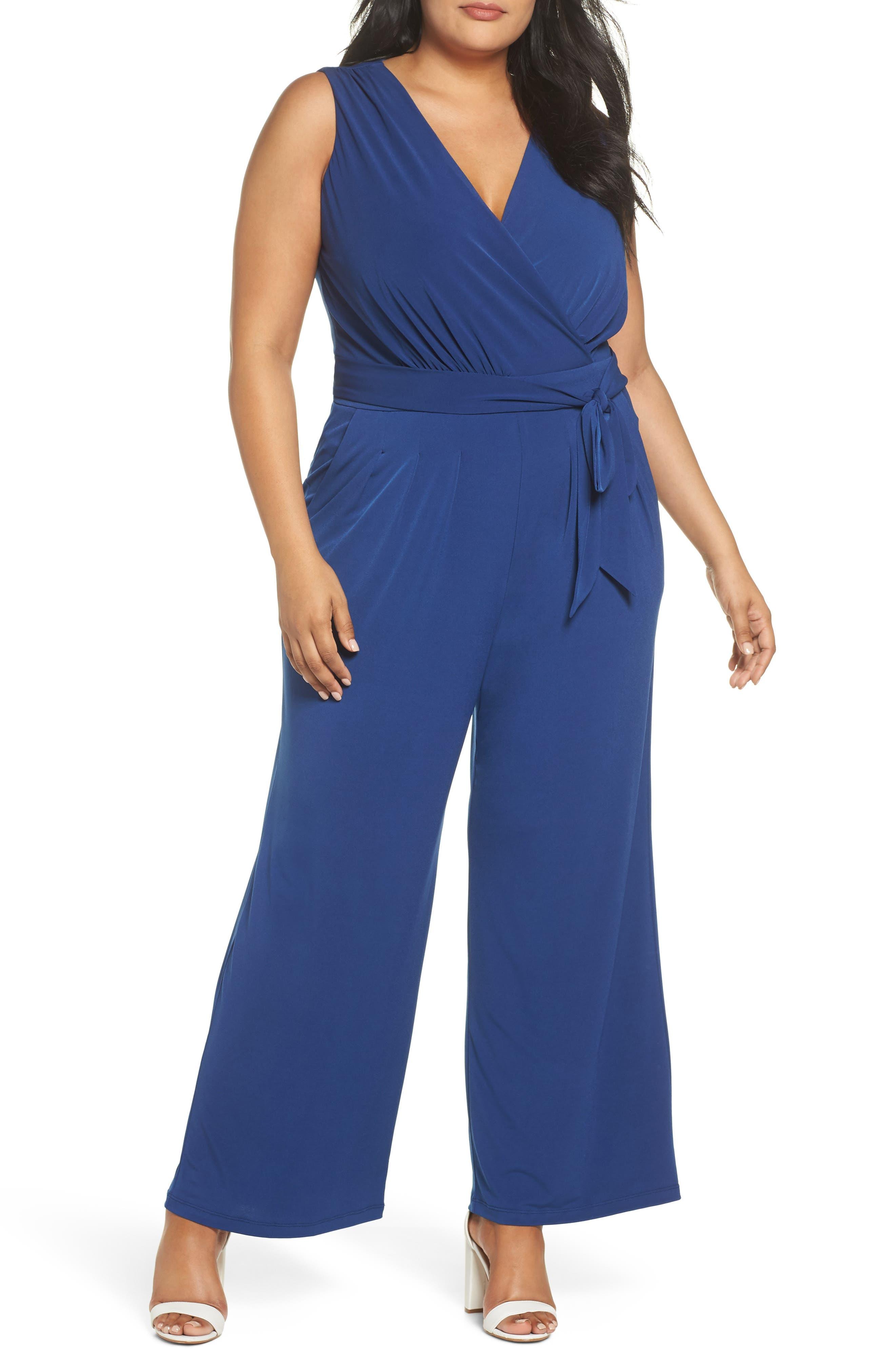 VINCE CAMUTO, Faux Wrap Wide Leg Jumpsuit, Main thumbnail 1, color, BLUE