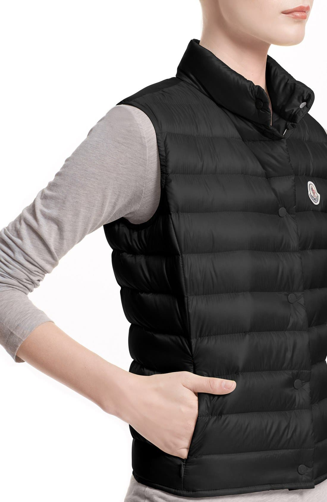 MONCLER, 'Liane' Water Resistant Short Down Vest, Alternate thumbnail 5, color, BLACK