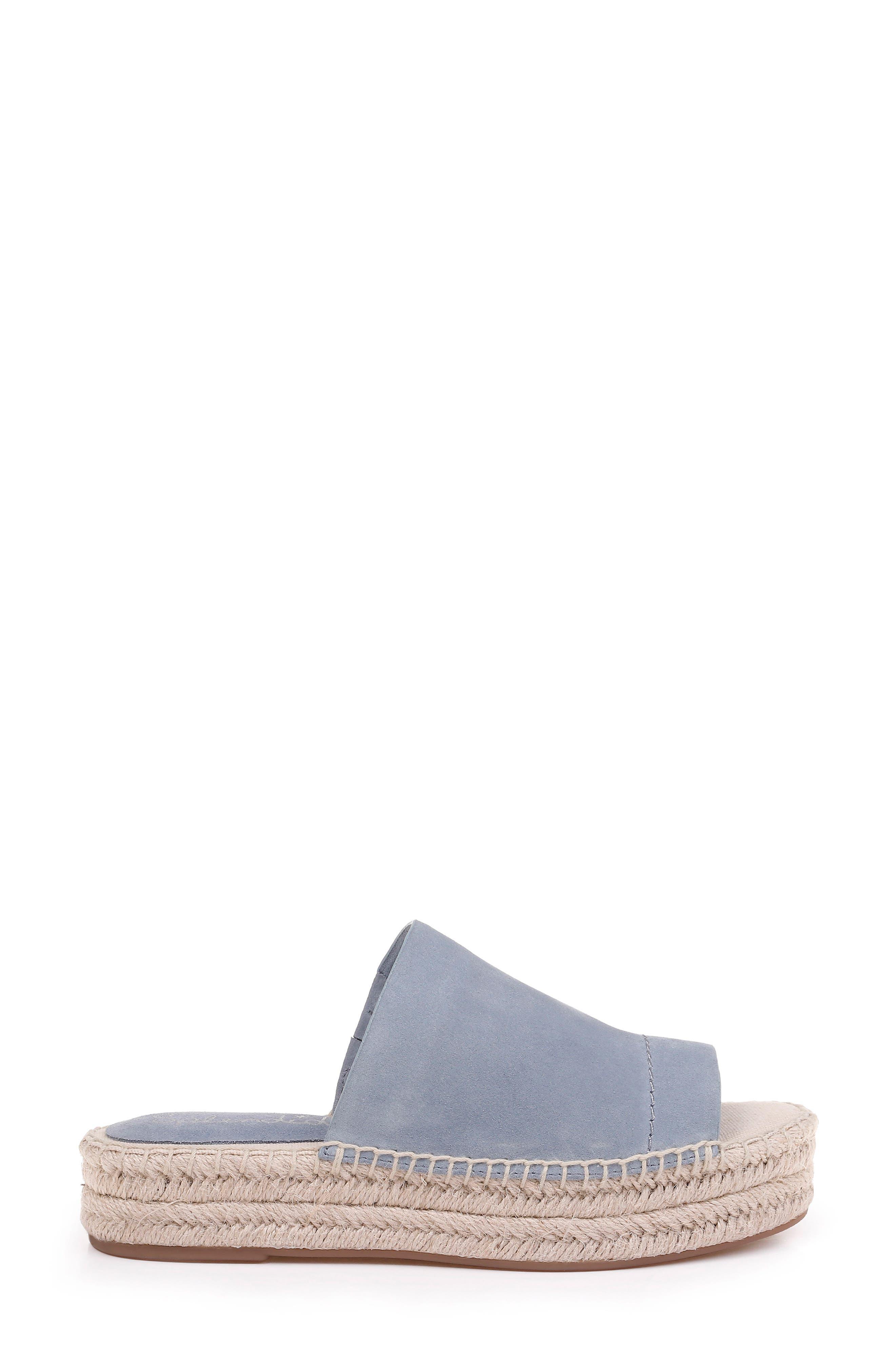SPLENDID, Thaddeus Espadrille Slide Sandal, Alternate thumbnail 3, color, LIGHT BLUE SUEDE