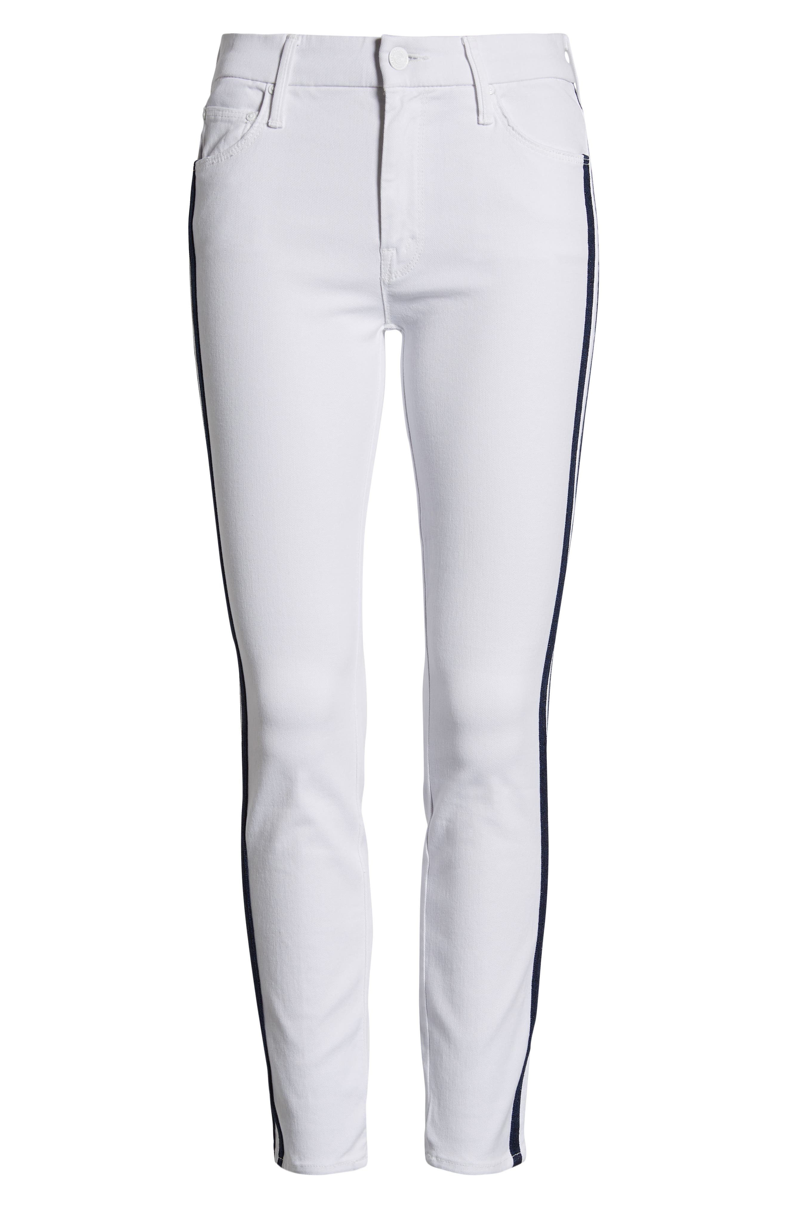 MOTHER, The Looker Stripe Ankle Skinny Jeans, Alternate thumbnail 7, color, 100
