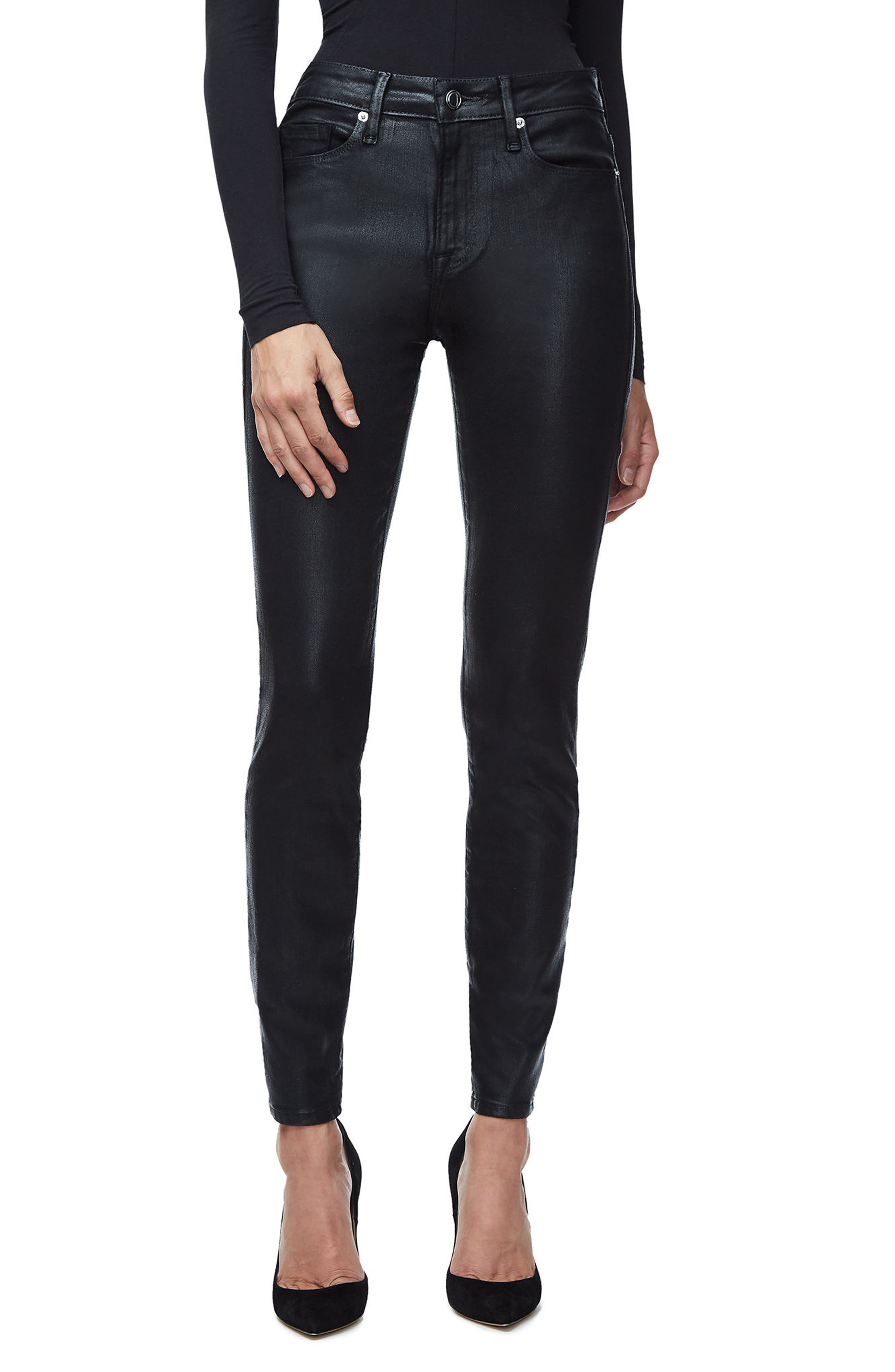 GOOD AMERICAN, Good Legs High Waist Skinny Jeans, Main thumbnail 1, color, BLACK