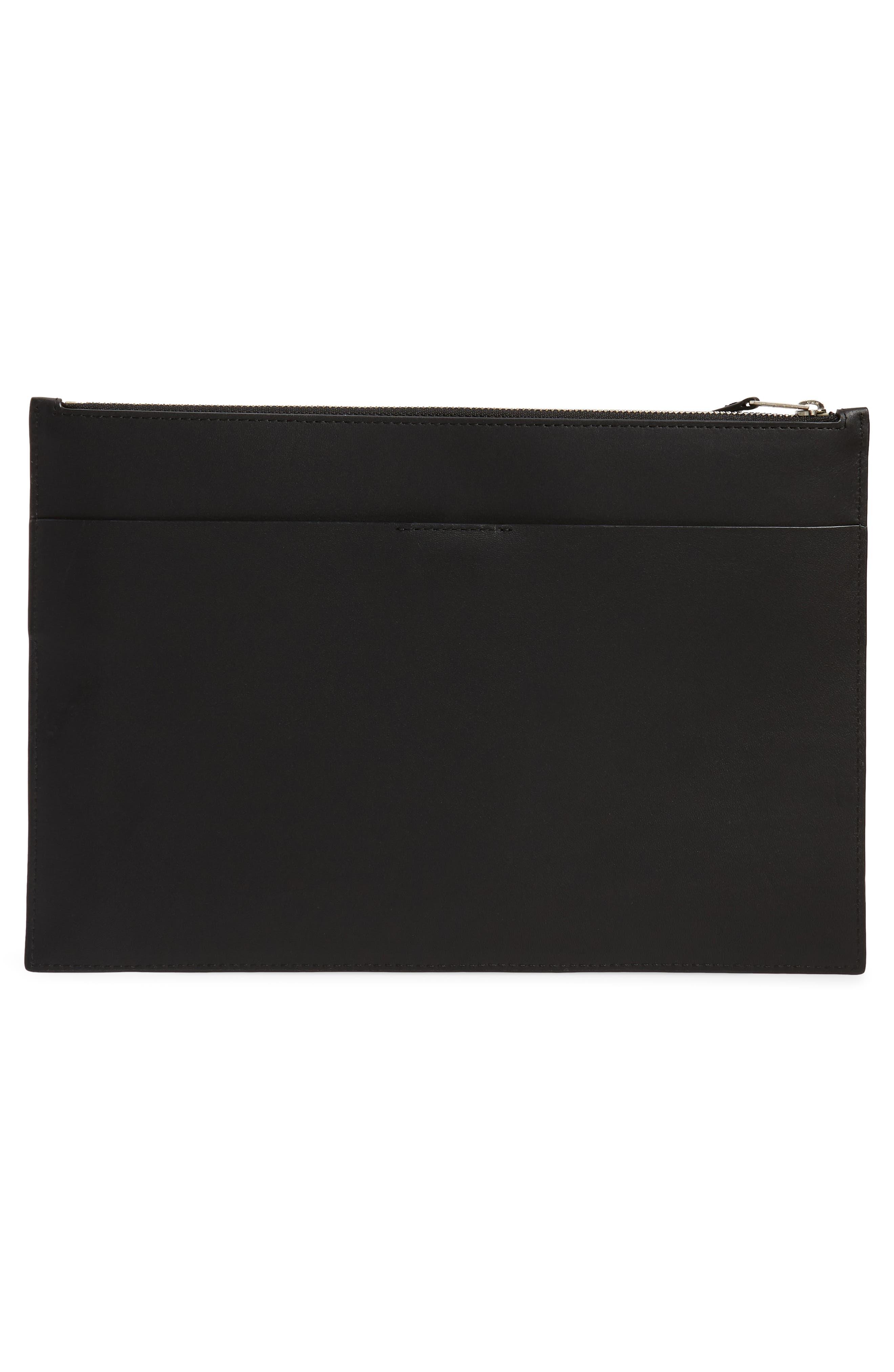 ALLSAINTS, Clip Leather Clutch, Alternate thumbnail 3, color, BLACK