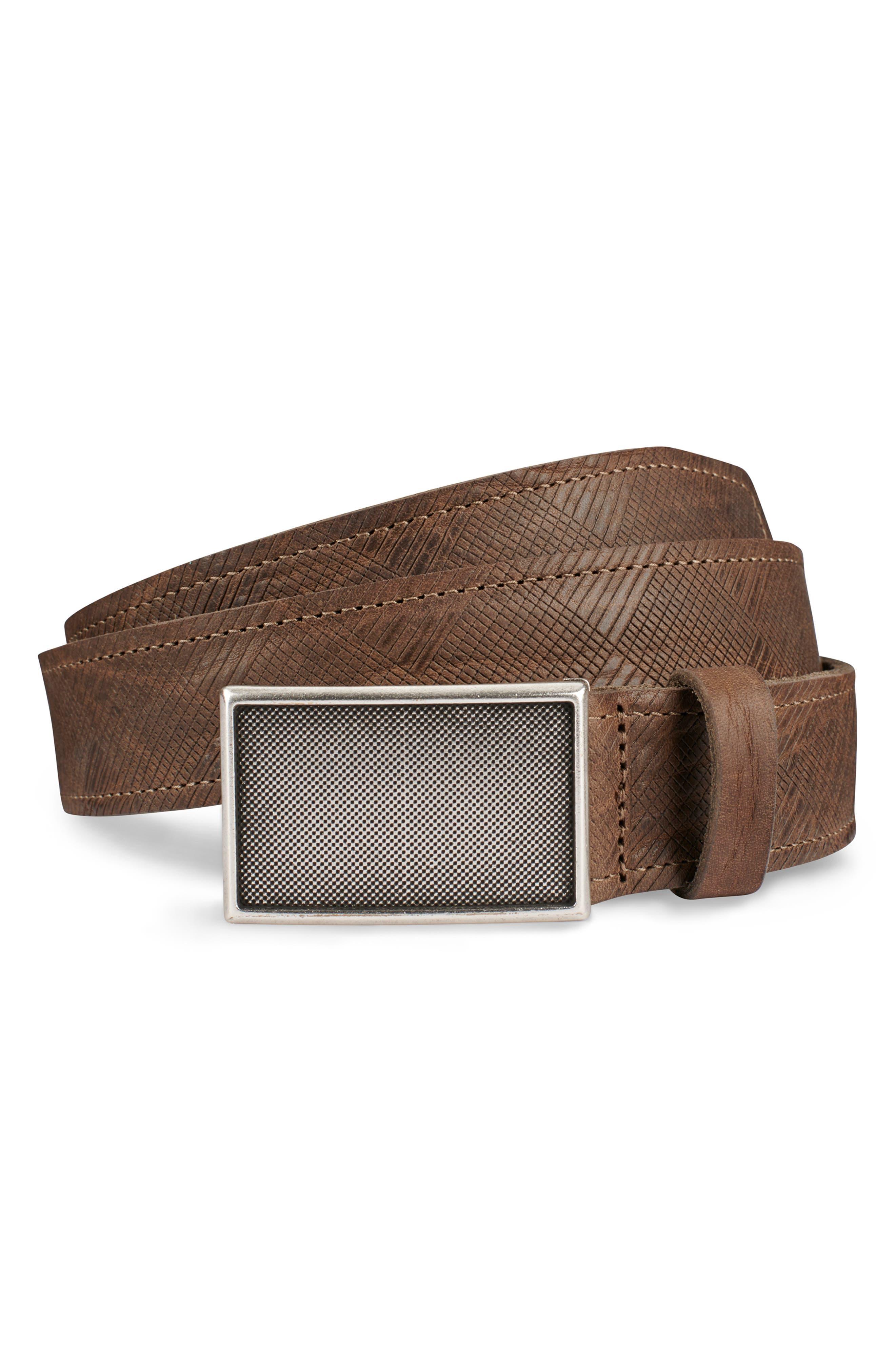 ALLEN EDMONDS Laser Plaid Leather Belt, Main, color, TAUPE