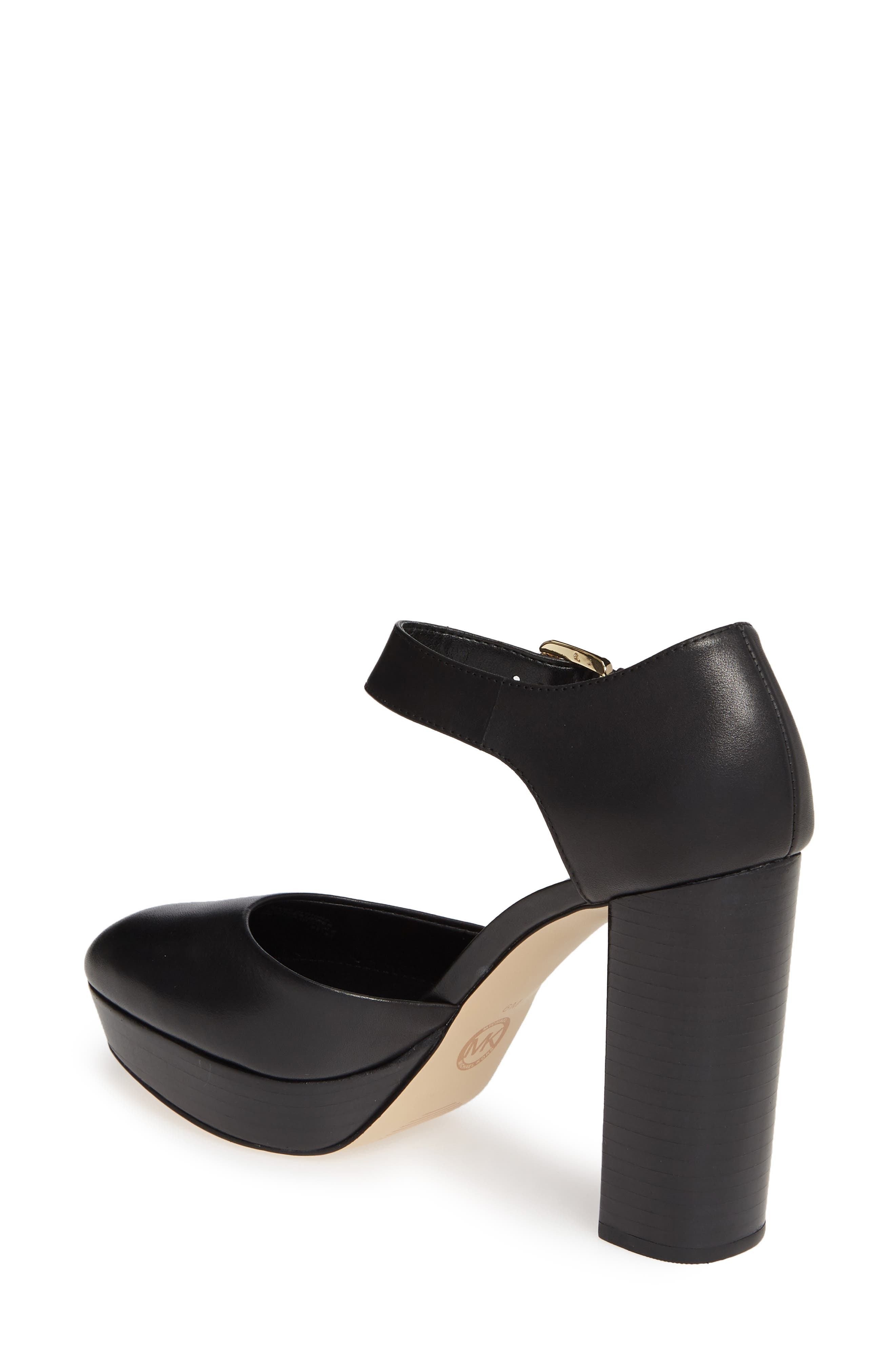 MICHAEL MICHAEL KORS, Platform Pump, Alternate thumbnail 2, color, BLACK VACHETTA LEATHER