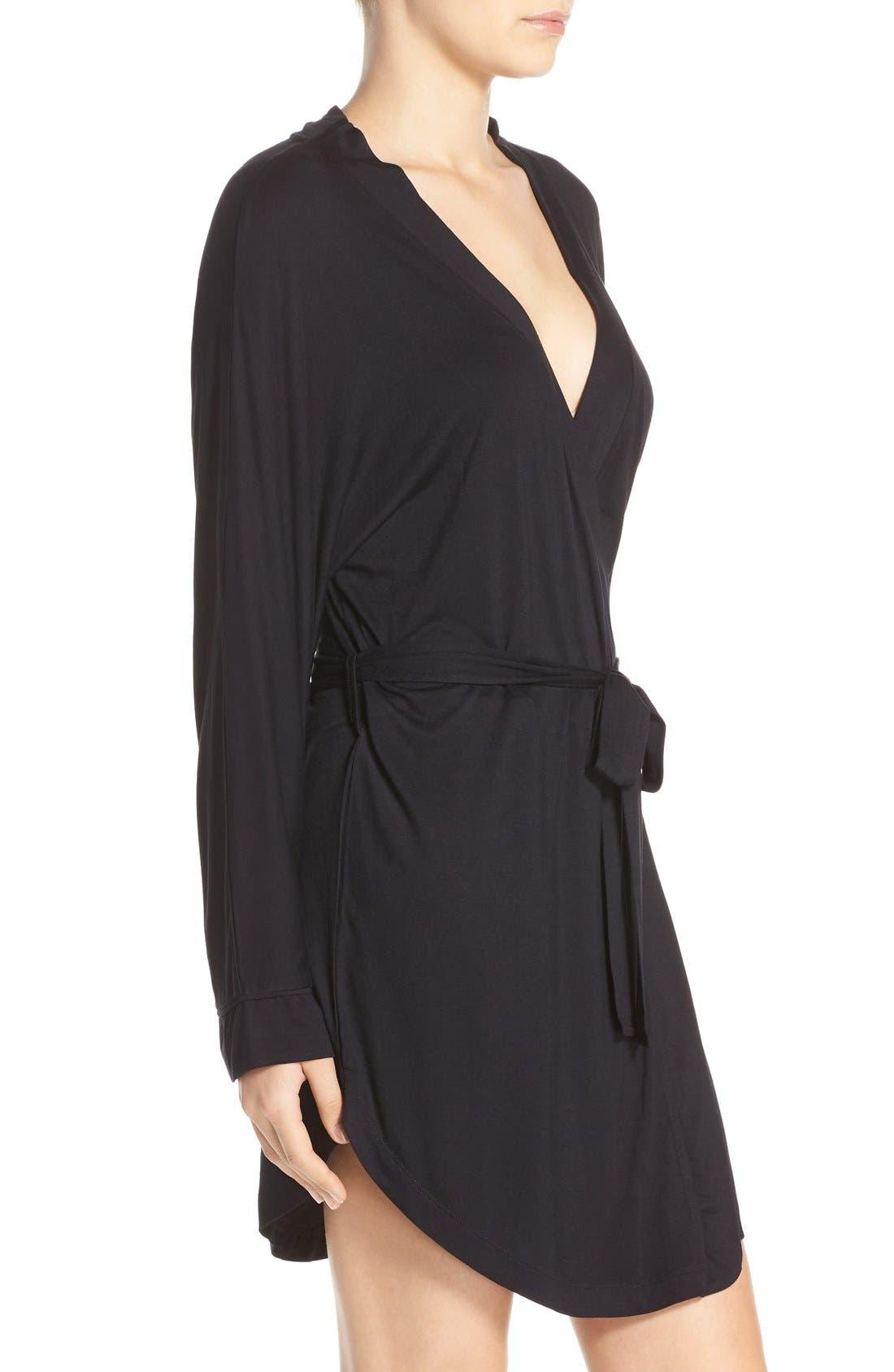 HONEYDEW INTIMATES, All American Jersey Robe, Alternate thumbnail 3, color, BLACK