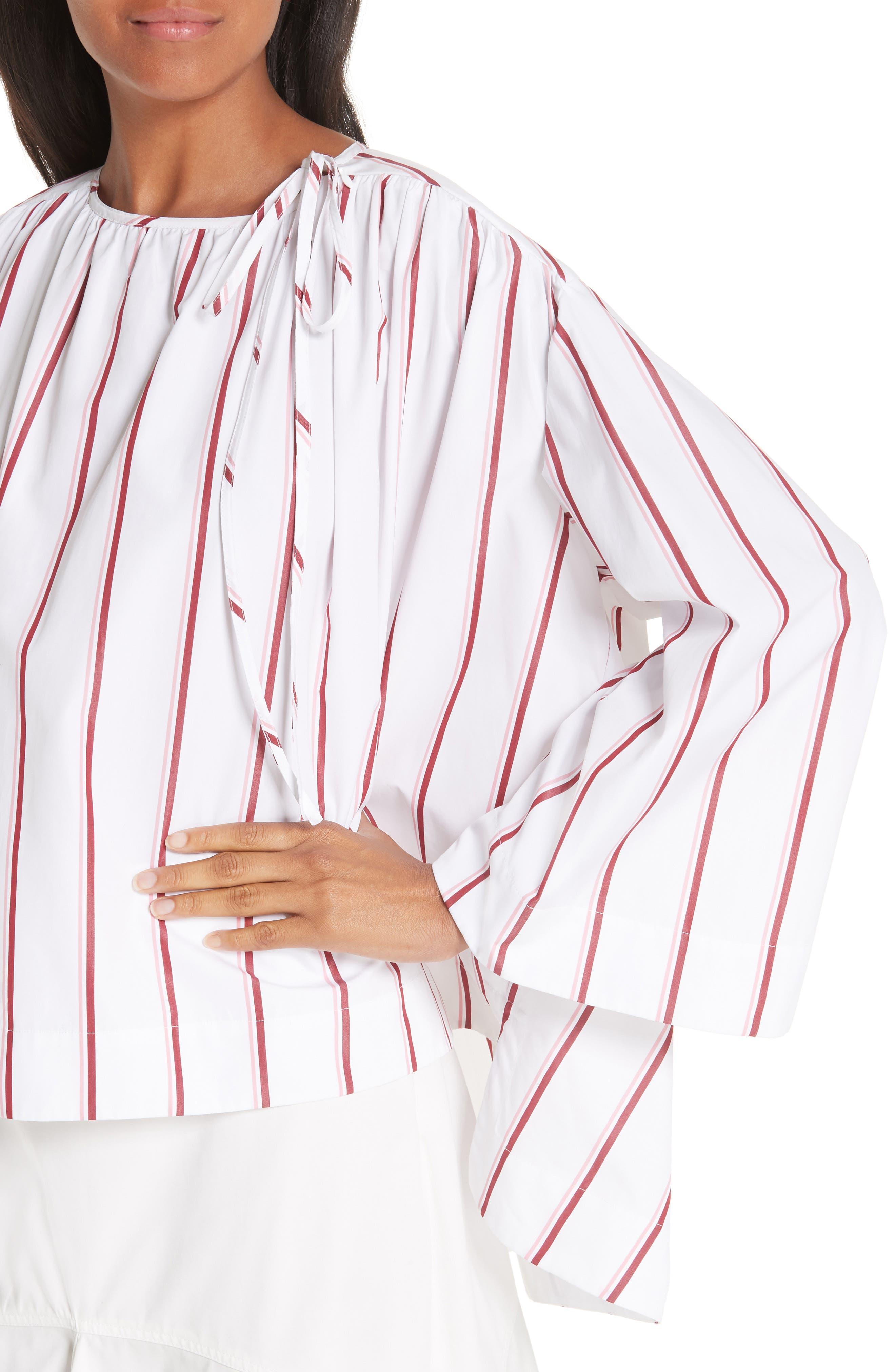 CALVIN KLEIN 205W39NYC, Tie Neck Cotton Poplin Blouse, Alternate thumbnail 5, color, OPTIC WHITE CAMEO PINK