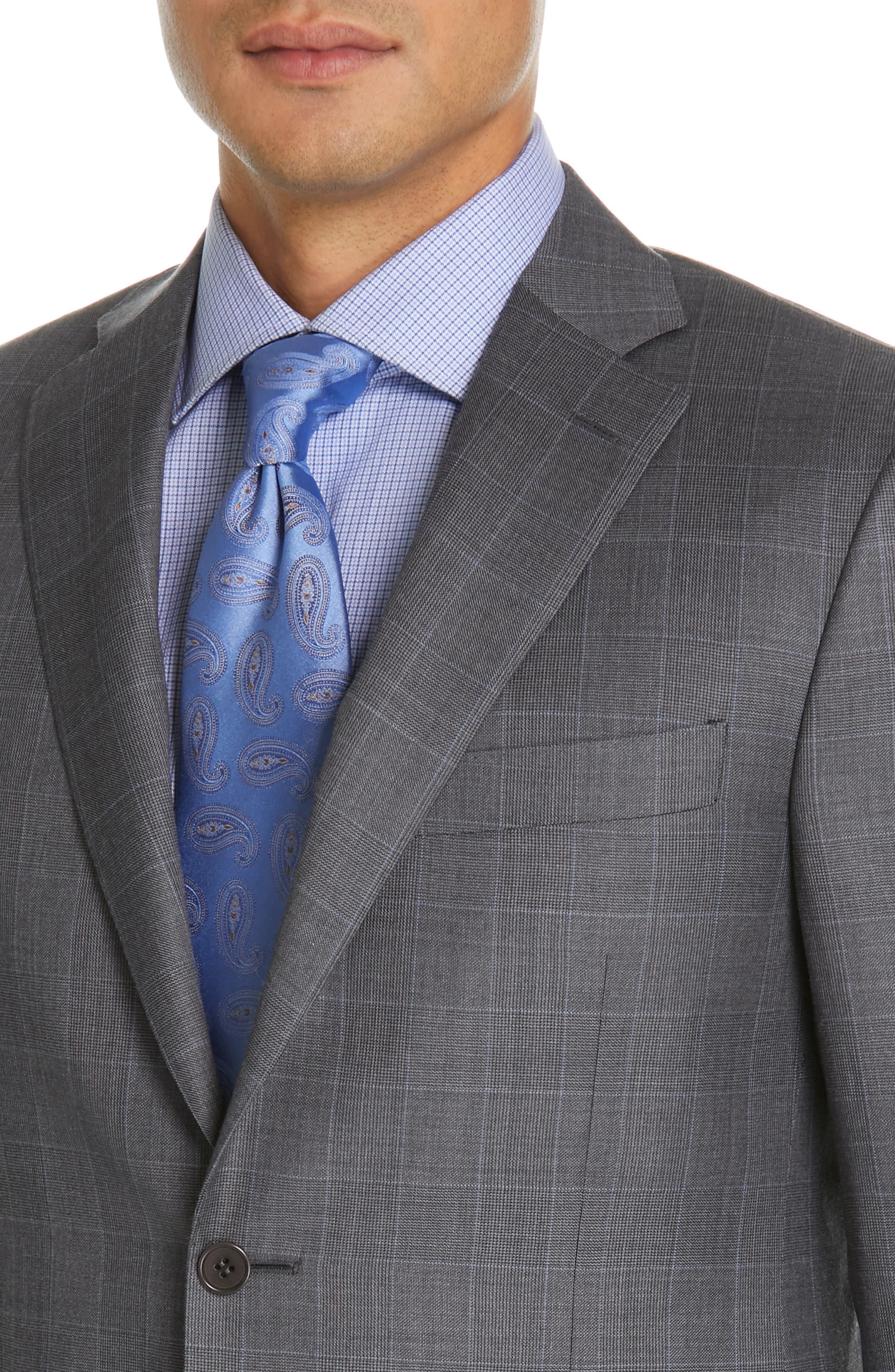 CANALI, Sienna Classic Fit Plaid Wool Suit, Alternate thumbnail 4, color, GREY