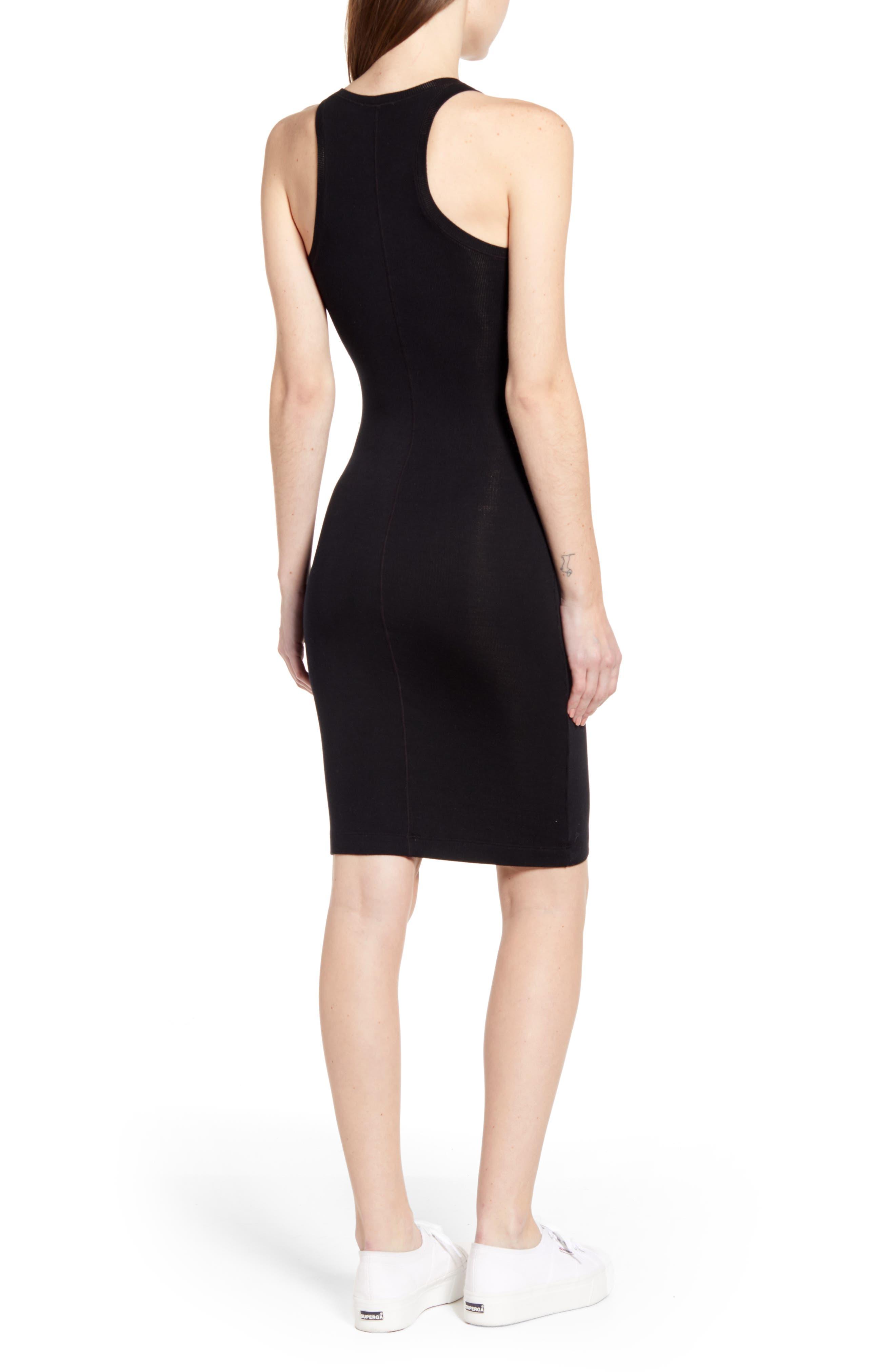SPLENDID, Racerback Knit Dress, Alternate thumbnail 2, color, BLACK