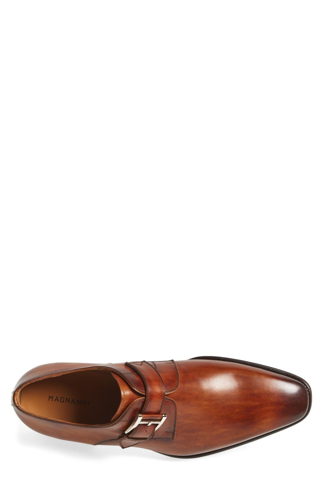 MAGNANNI, Marco Monk Strap Loafer, Alternate thumbnail 4, color, CUERO BROWN LEATHER
