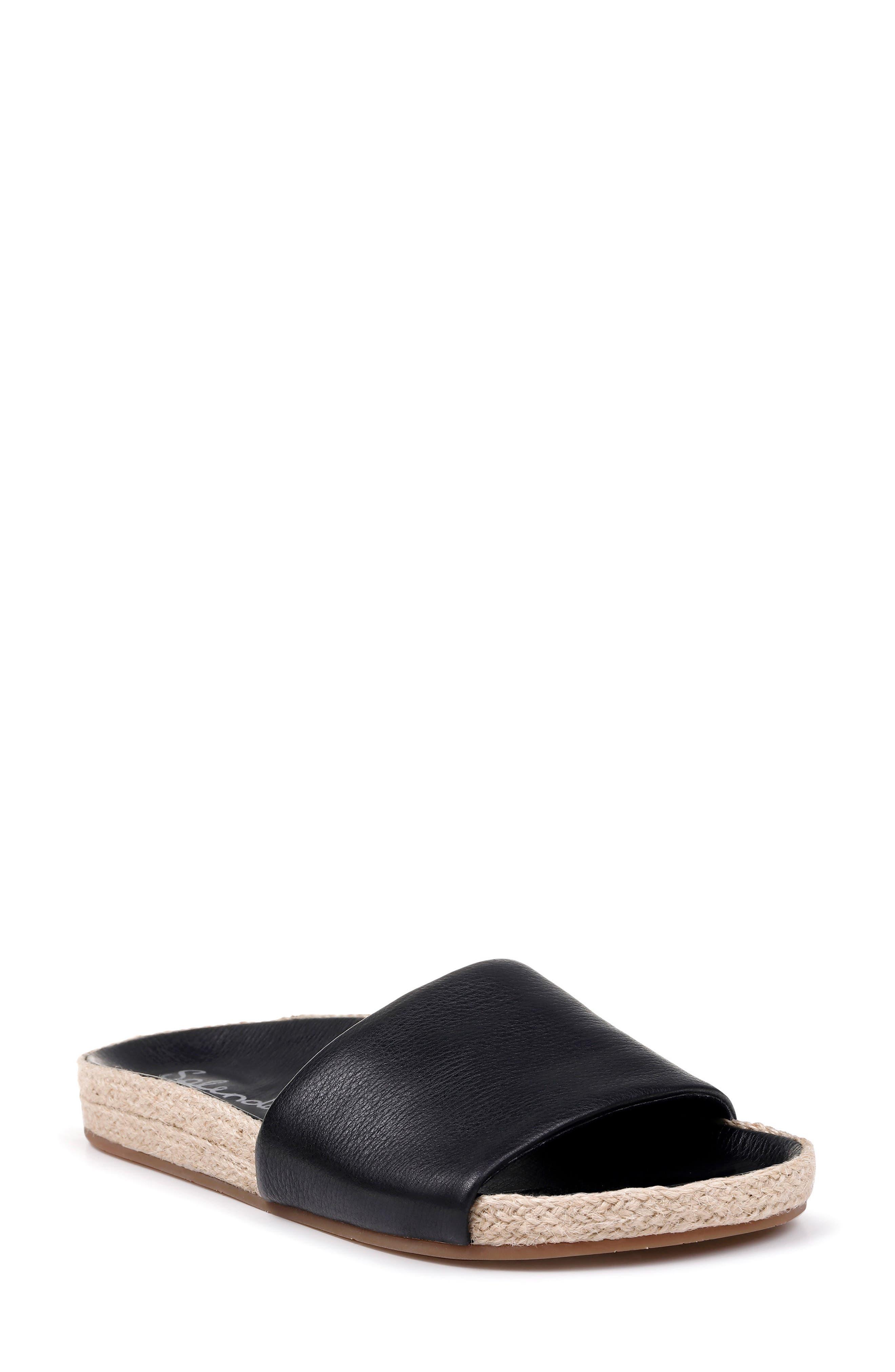 SPLENDID, Sandford Espadrille Slide Sandal, Main thumbnail 1, color, BLACK LEATHER