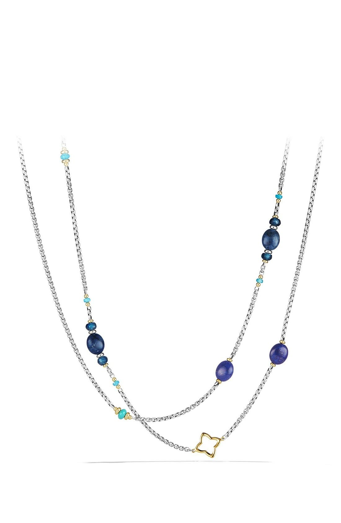 DAVID YURMAN, 'Bead and Chain' Necklace, Main thumbnail 1, color, SILVER/ GOLD/ TURQUOISE
