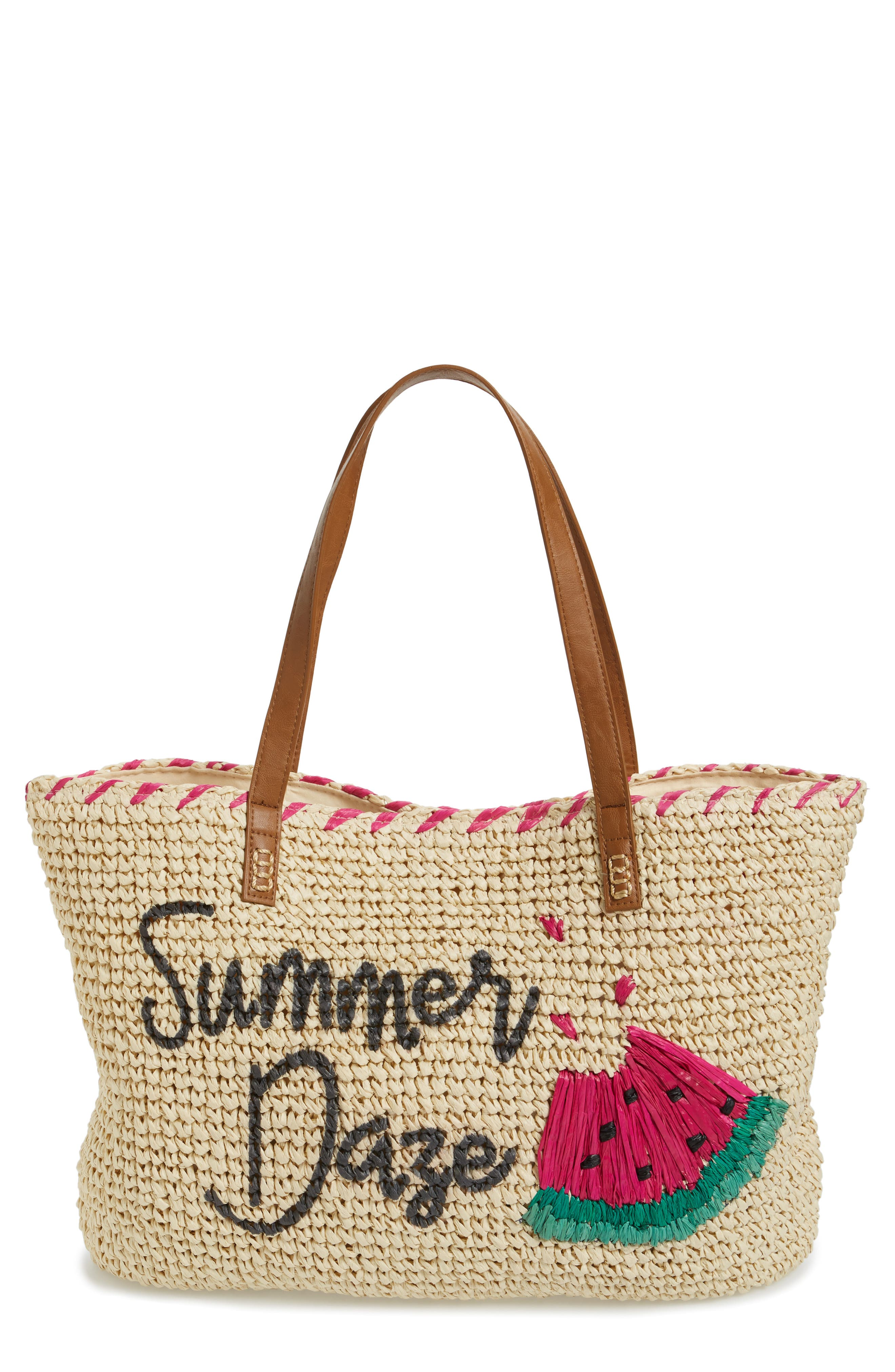NORDSTROM, Summer Daze Straw Tote, Main thumbnail 1, color, 235