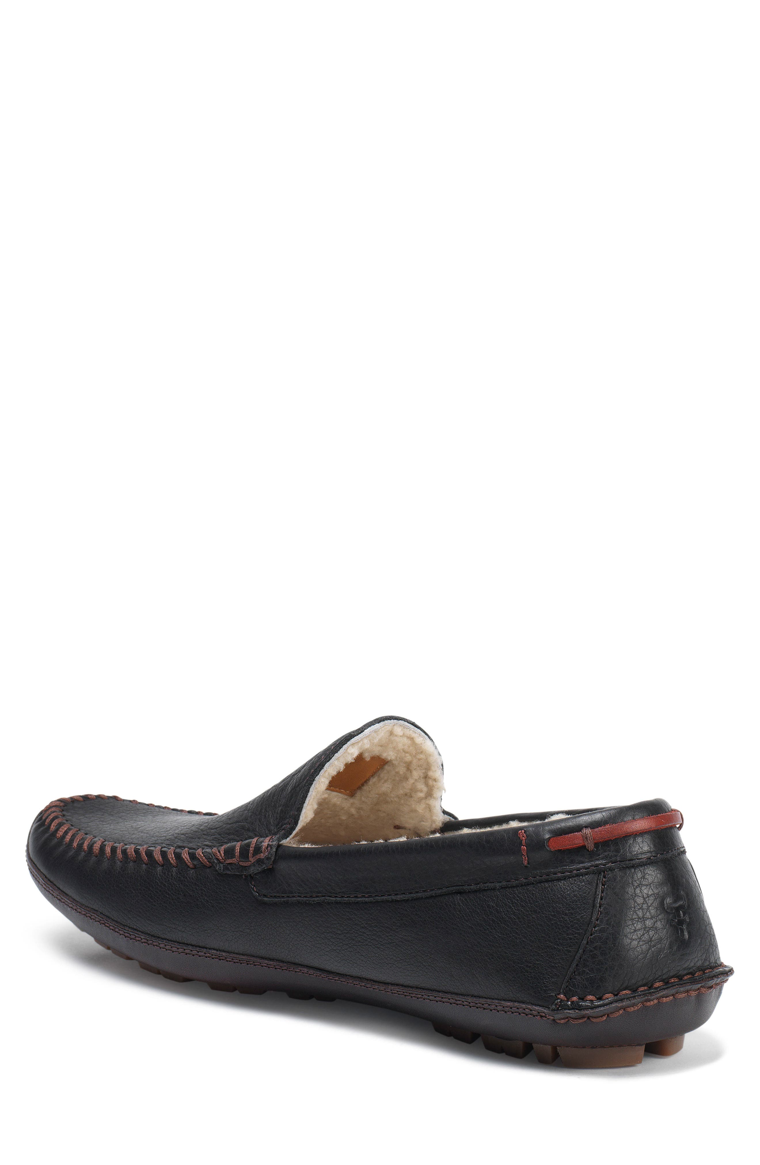 TRASK, Denton Driving Shoe with Genuine Shearling, Alternate thumbnail 2, color, BLACK LEATHER/ SHEARLING