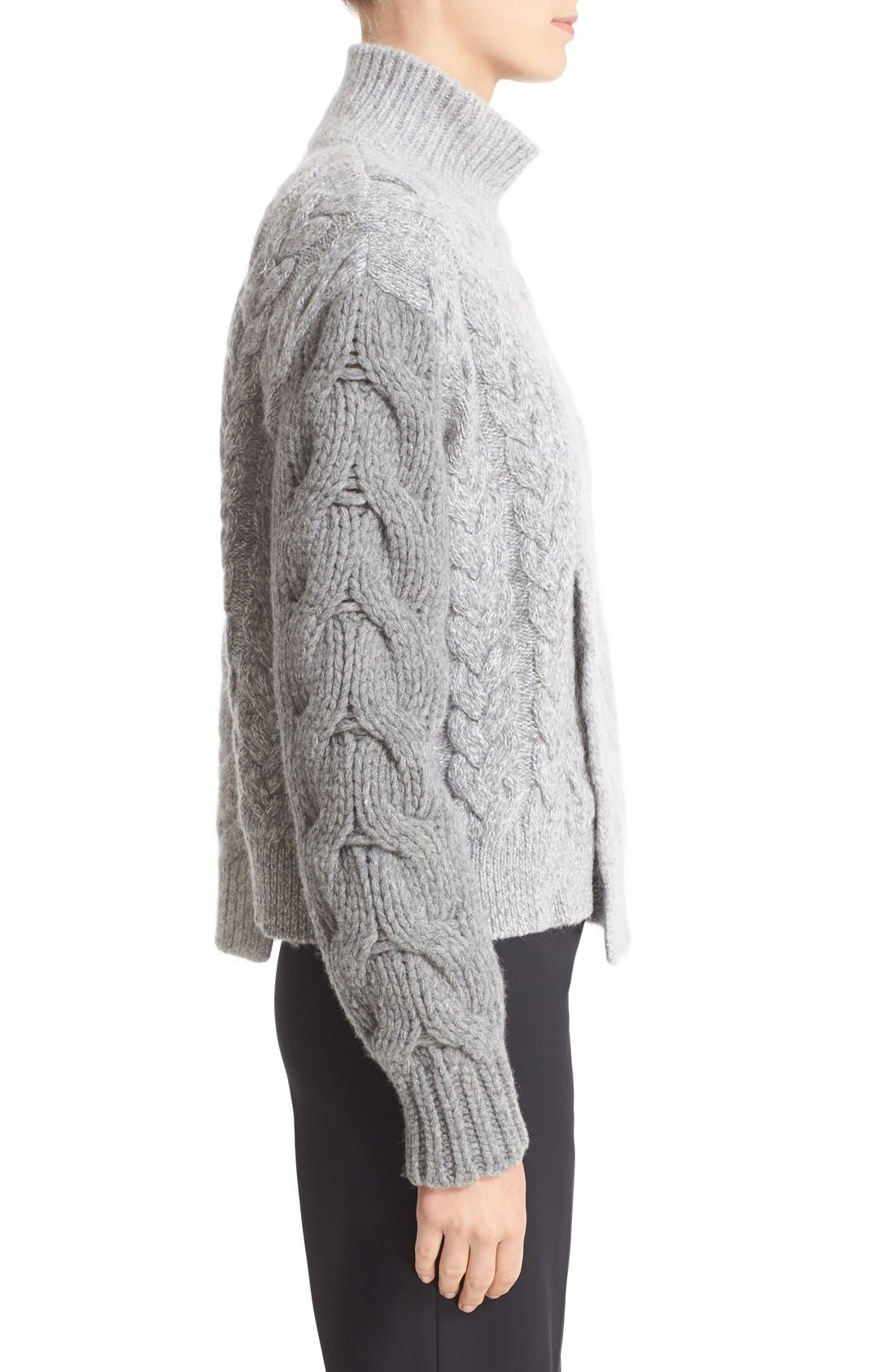 STELLA MCCARTNEY, Mixed Media Turtleneck Sweater, Alternate thumbnail 6, color, 120