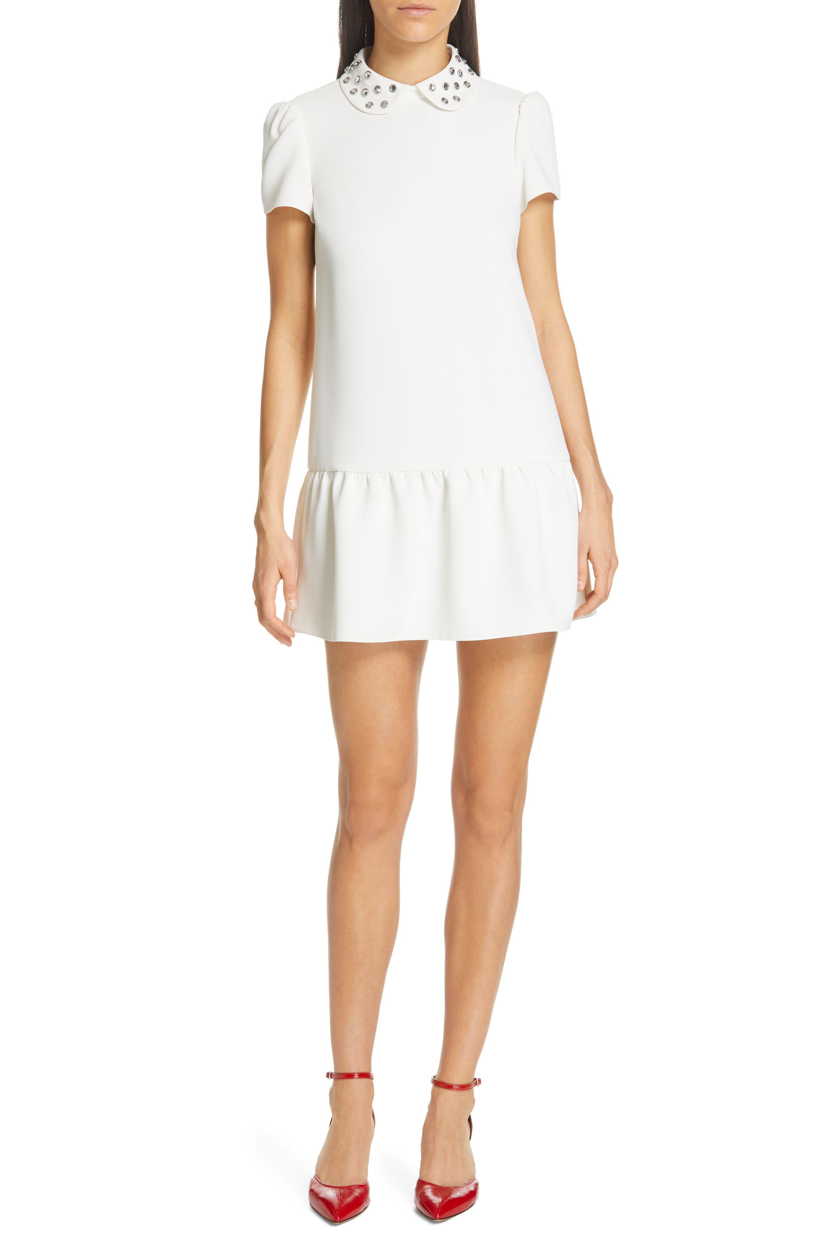 Red Valentino Crystal Drop Waist Dress, US / 48 IT - White