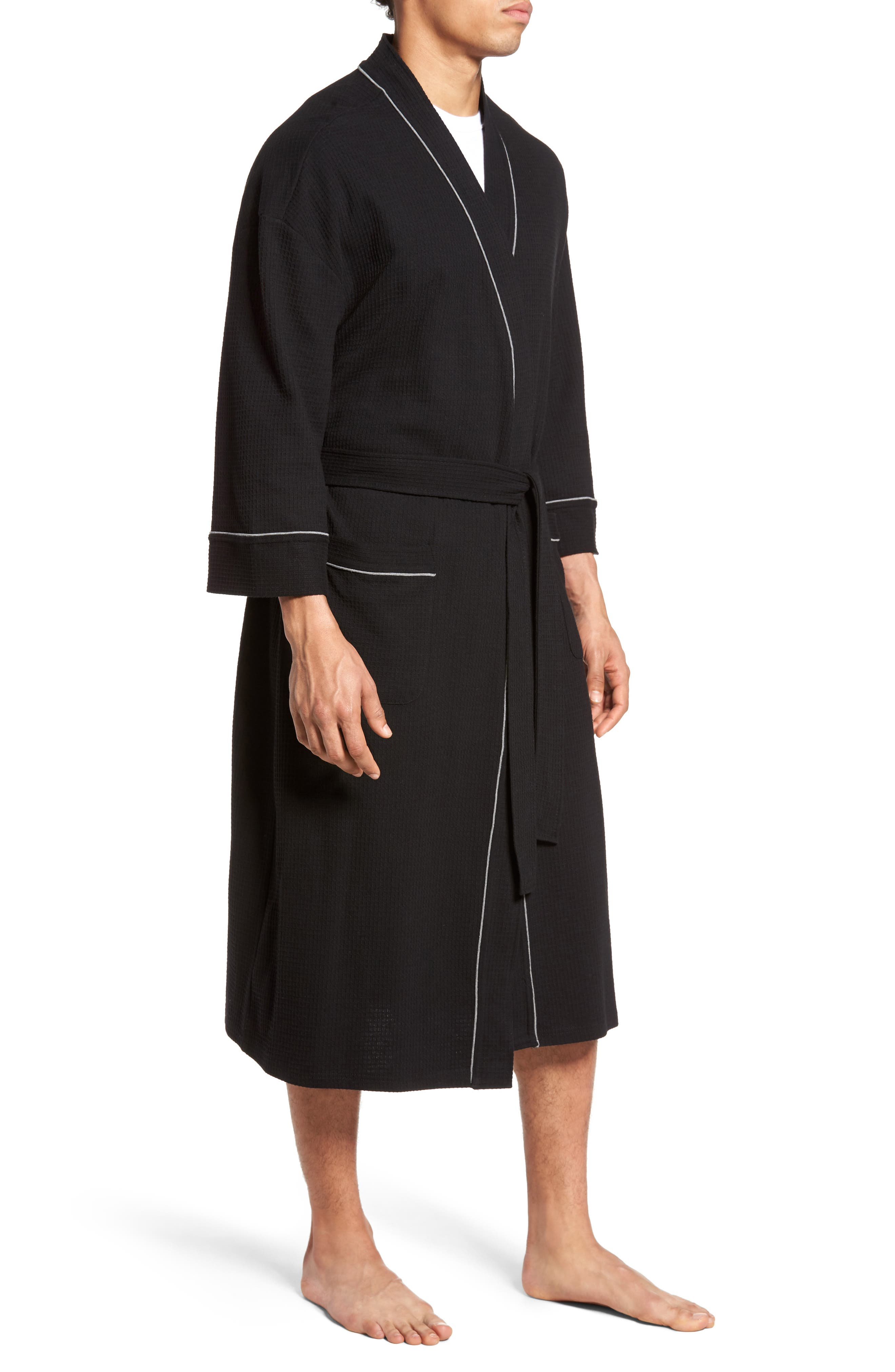 MAJESTIC INTERNATIONAL, Waffle Knit Robe, Alternate thumbnail 3, color, BLACK