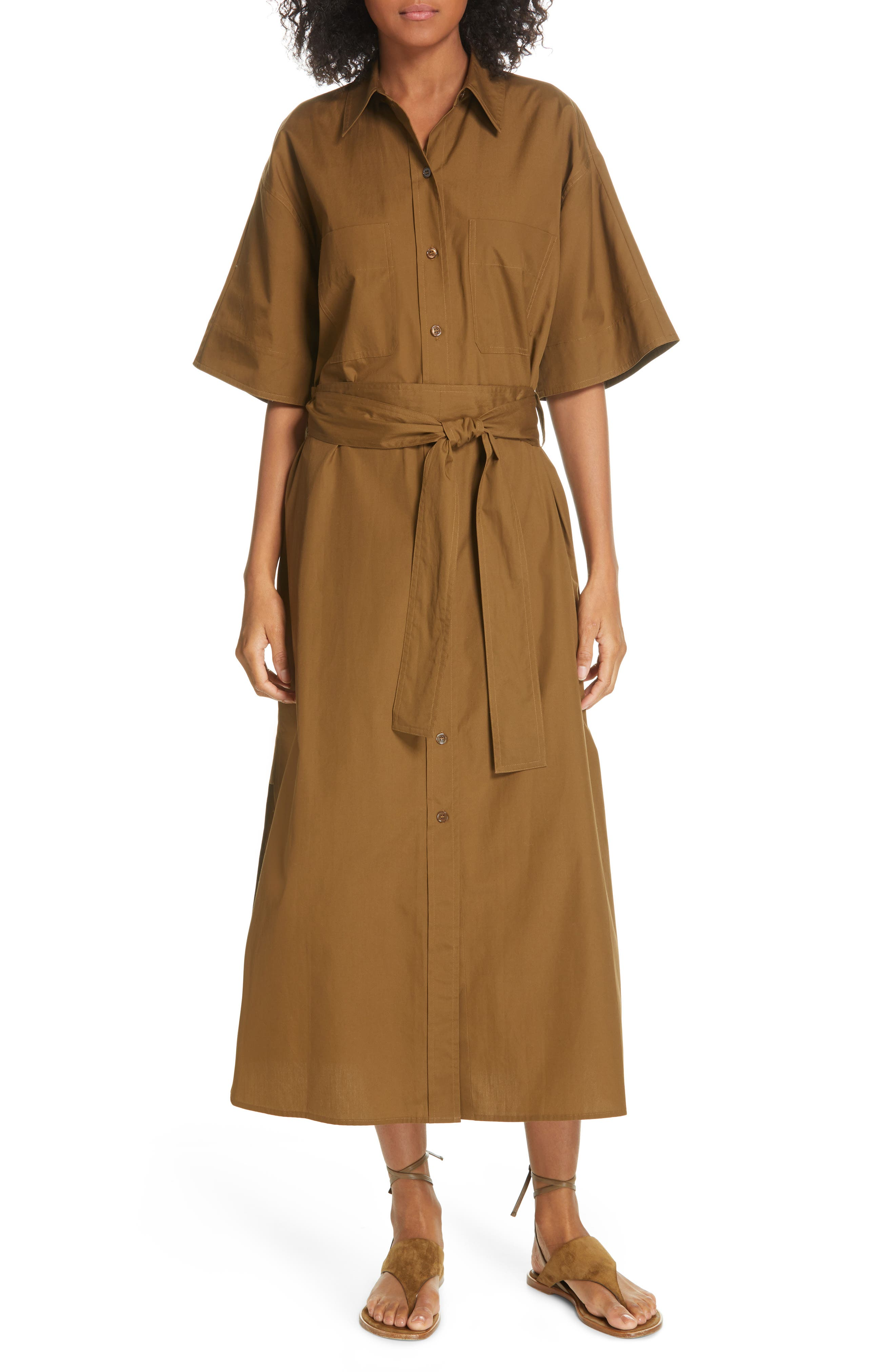 VINCE, Utility Shirtdress, Main thumbnail 1, color, COTTONWOOD