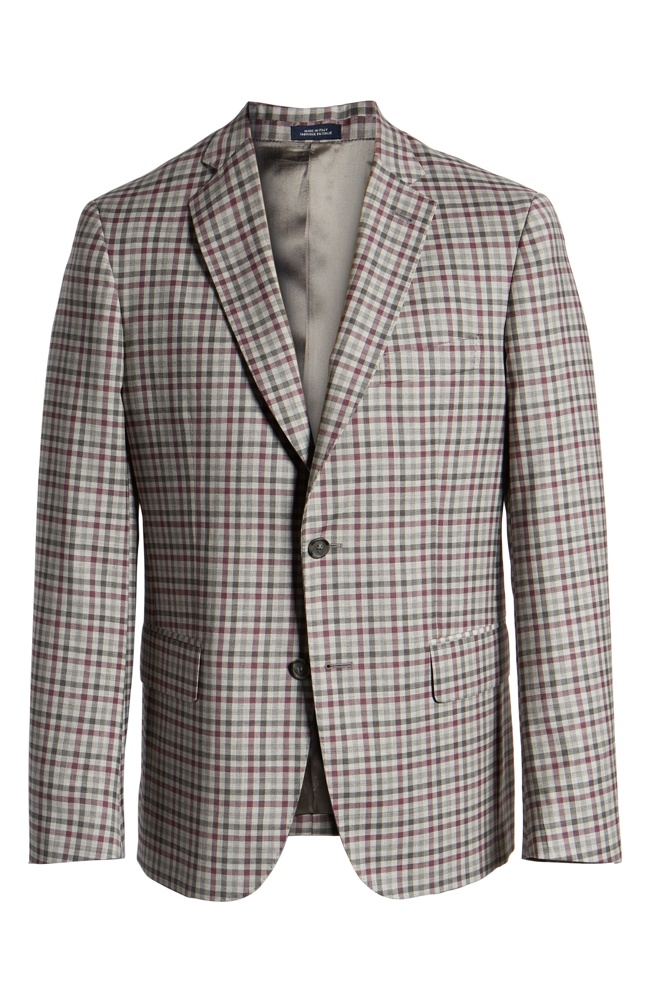 JOHN W. NORDSTROM<SUP>®</SUP>, Traditional Fit Check Sport Coat, Alternate thumbnail 5, color, GREY ALLOY BURGUNDY PLAID