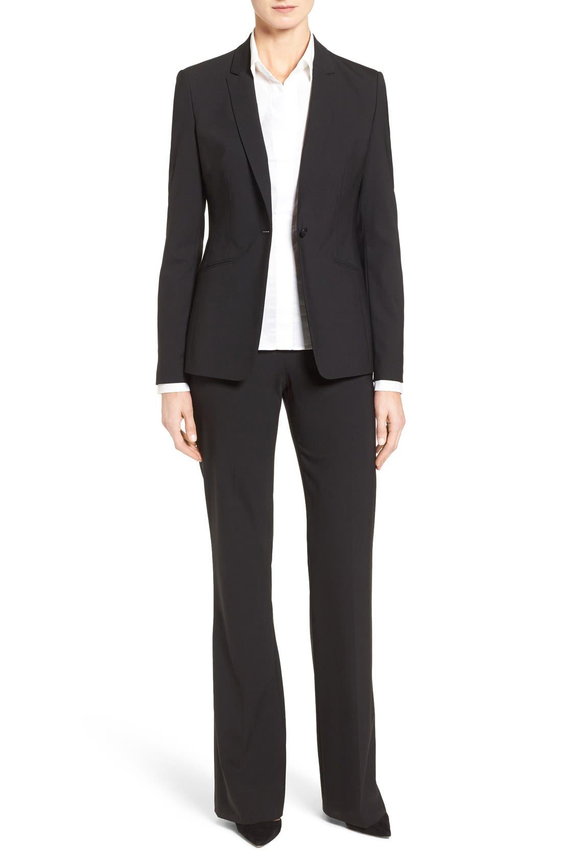 BOSS, Jabina Tropical Stretch Wool Jacket, Alternate thumbnail 12, color, BLACK