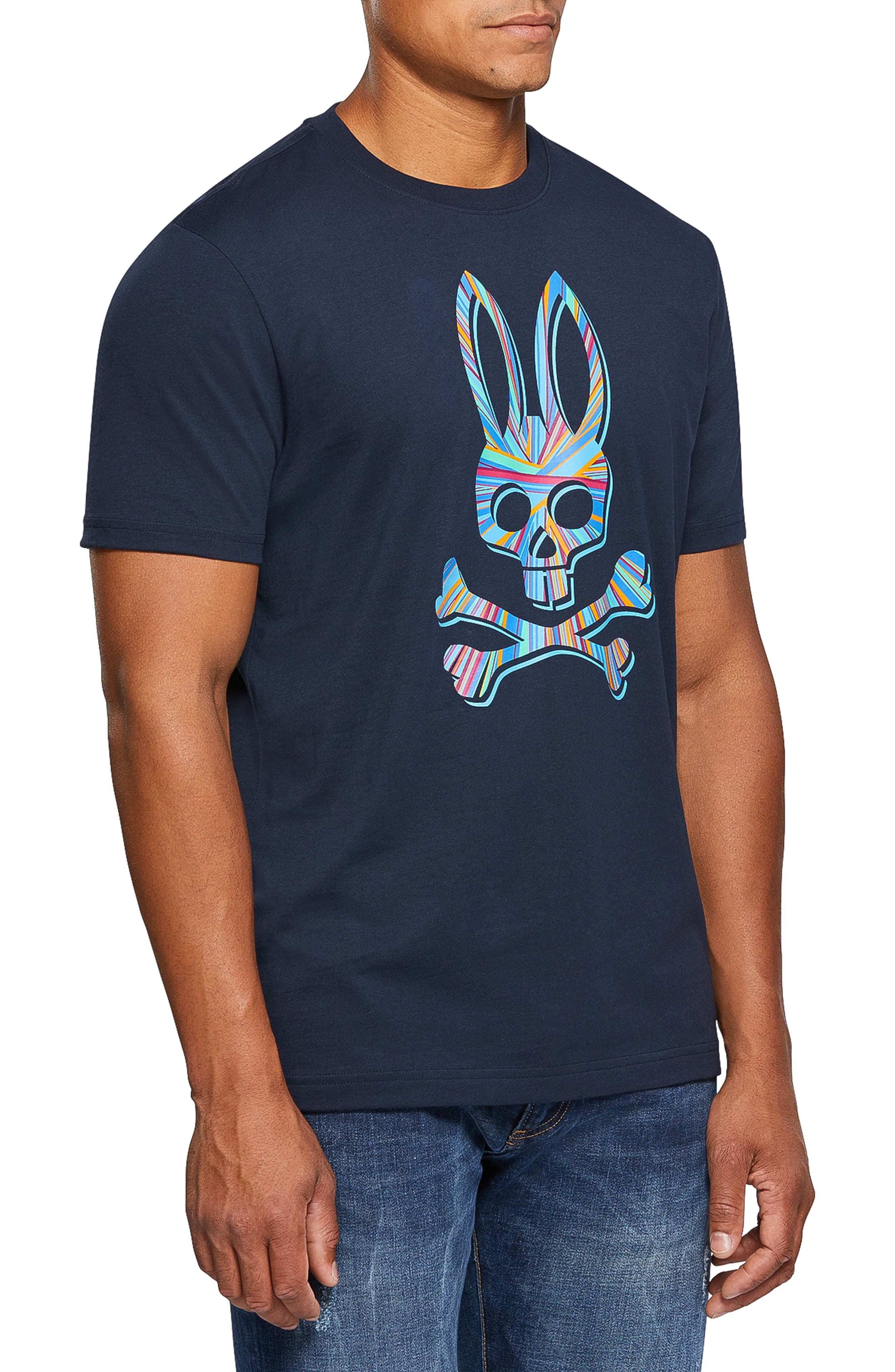 PSYCHO BUNNY, Logo Graphic T-Shirt, Alternate thumbnail 3, color, 400