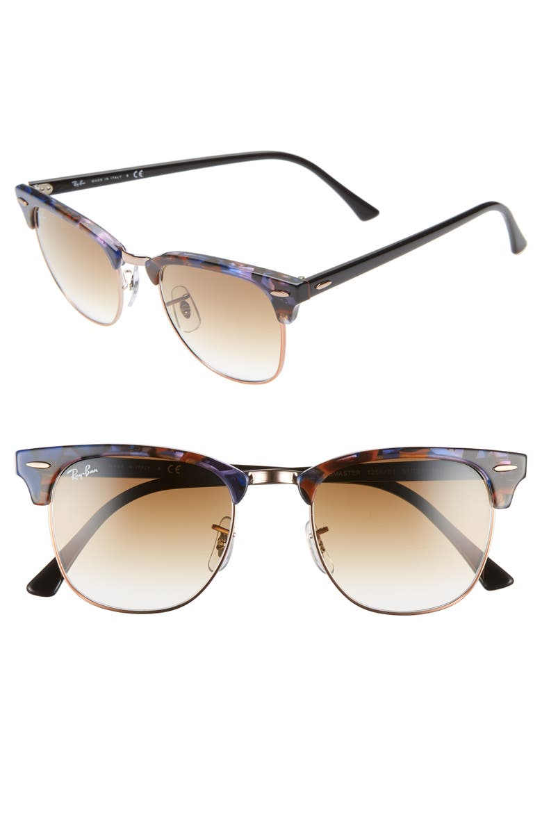 1032b203b2792 Ray Ban Clubmaster 51Mm Gradient Sunglasses - Brown  Blue Gradient In Spotted  Brown Blue