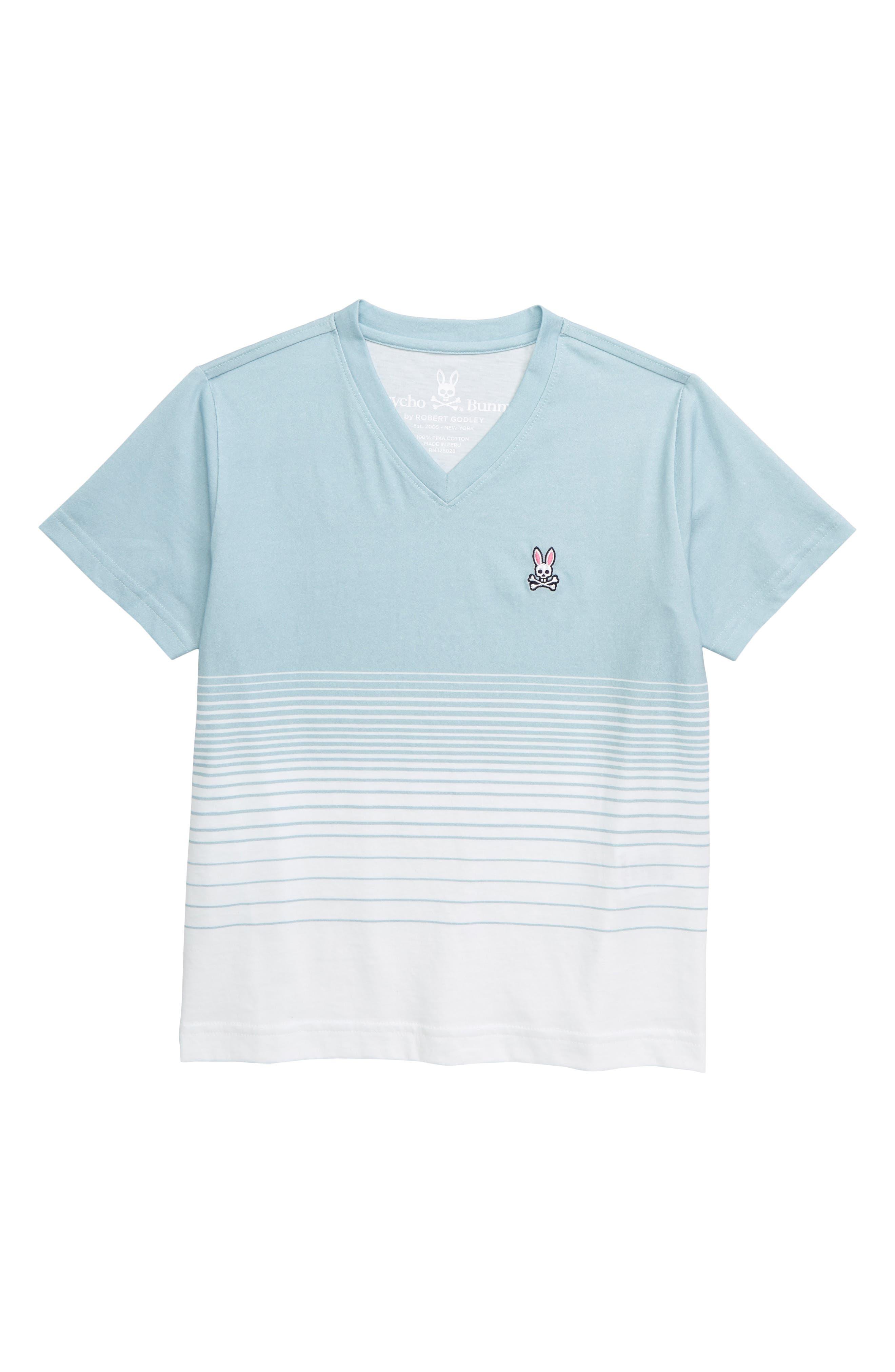 PSYCHO BUNNY, Warrington V-Neck T-Shirt, Main thumbnail 1, color, SEAFOAM