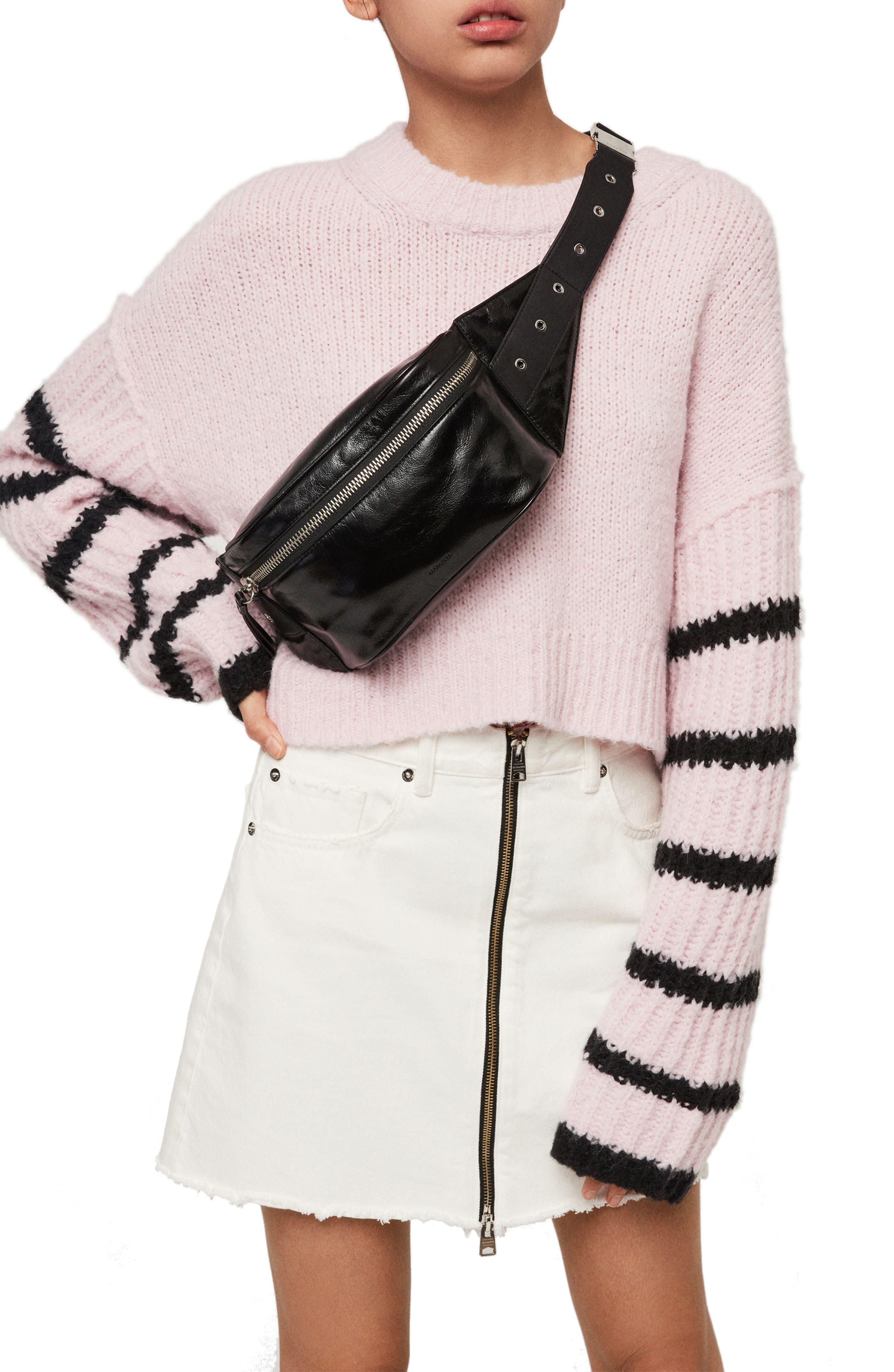 ALLSAINTS, Clip Leather Belt Bag, Alternate thumbnail 2, color, BLACK
