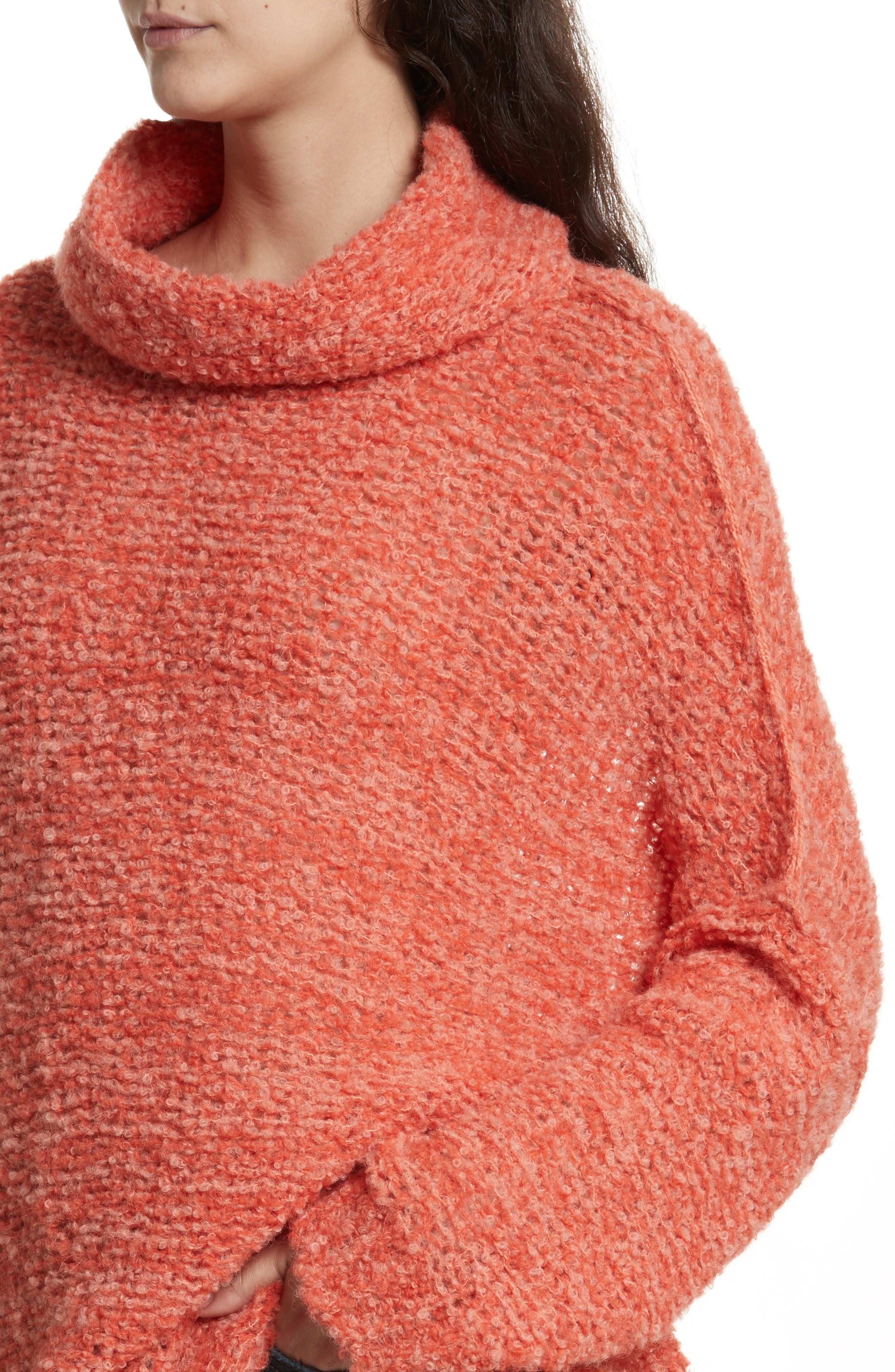 FREE PEOPLE, 'She's All That' Knit Turtleneck Sweater, Alternate thumbnail 4, color, 800