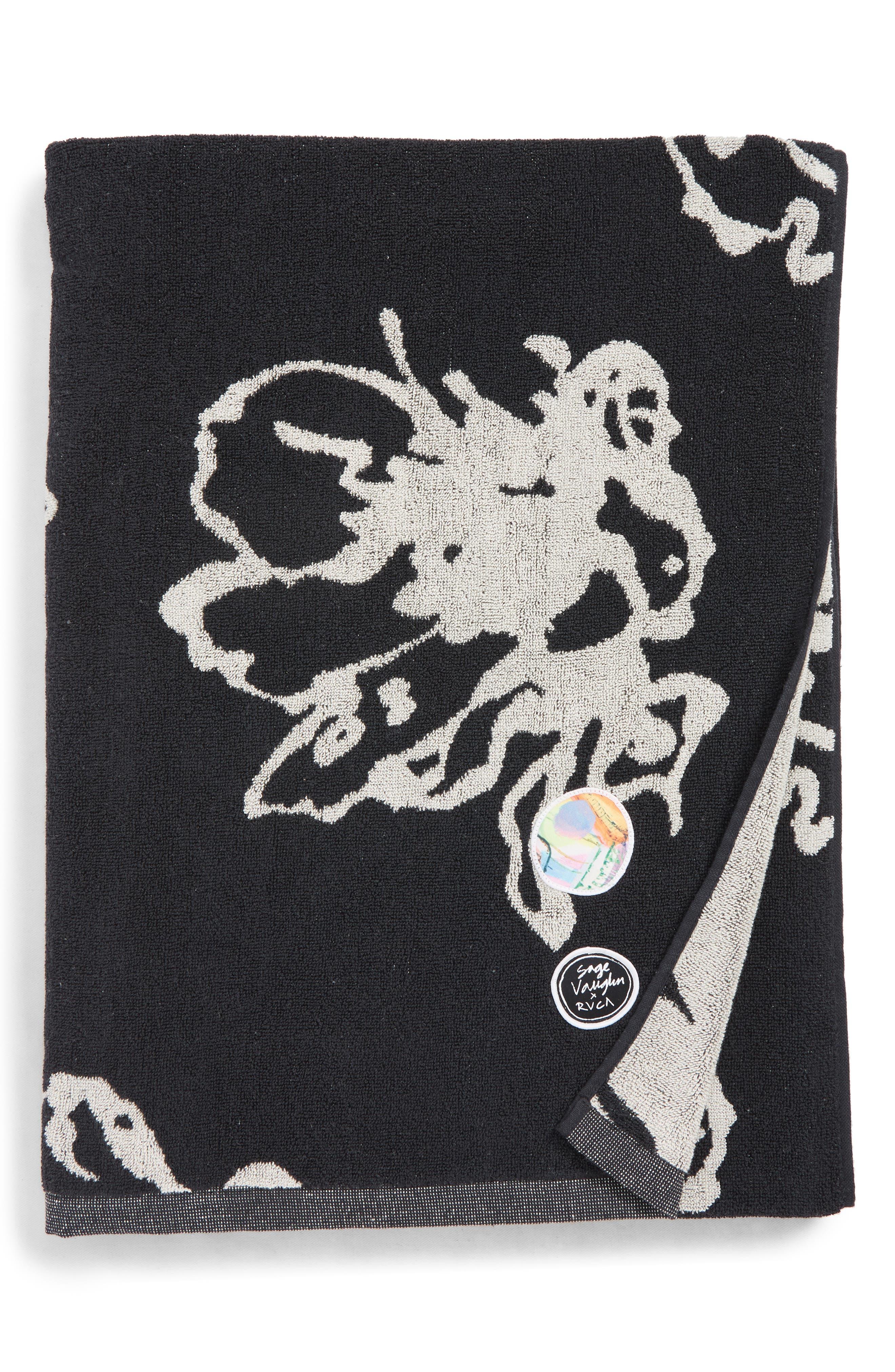 RVCA, Sage Vaughn Beach Towel, Main thumbnail 1, color, BLACK