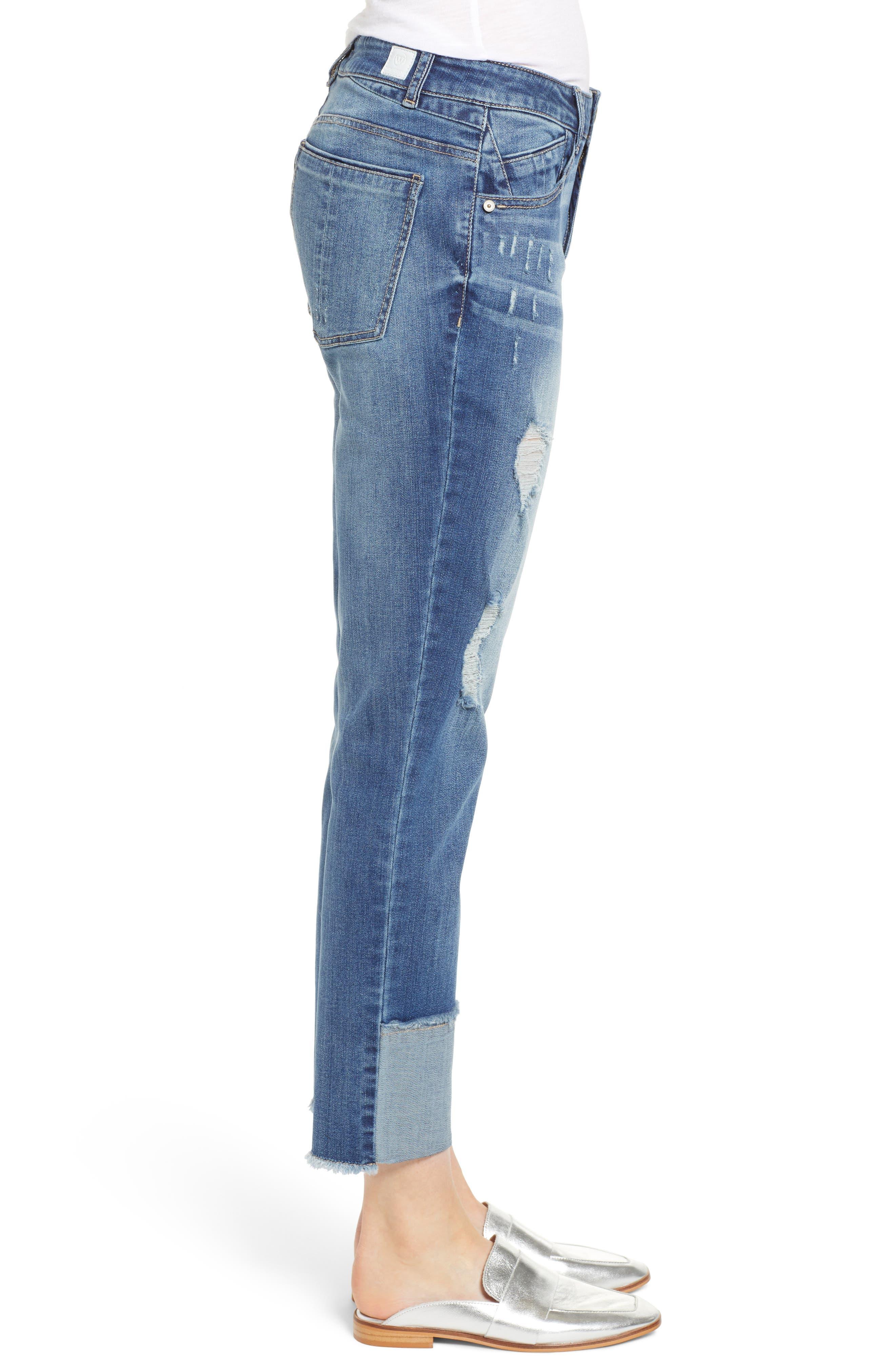 WIT & WISDOM, Flex-ellent Distressed Straight Leg Jeans, Alternate thumbnail 4, color, BLUE