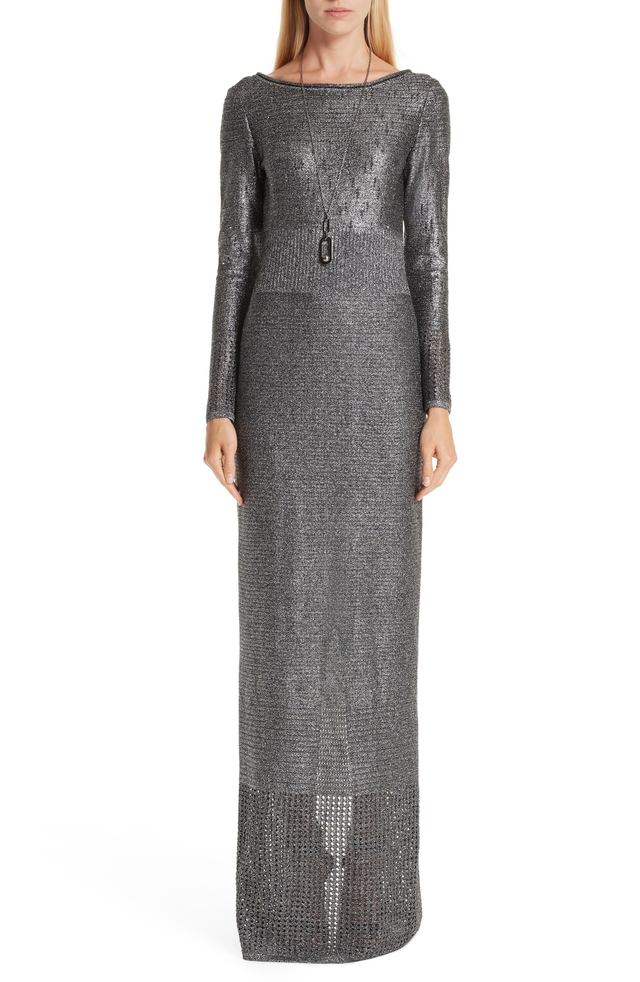 ST. JOHN COLLECTION, Metallic Plaited Mixed Knit Gown, Main thumbnail 1, color, GUNMETAL/ CAVIAR