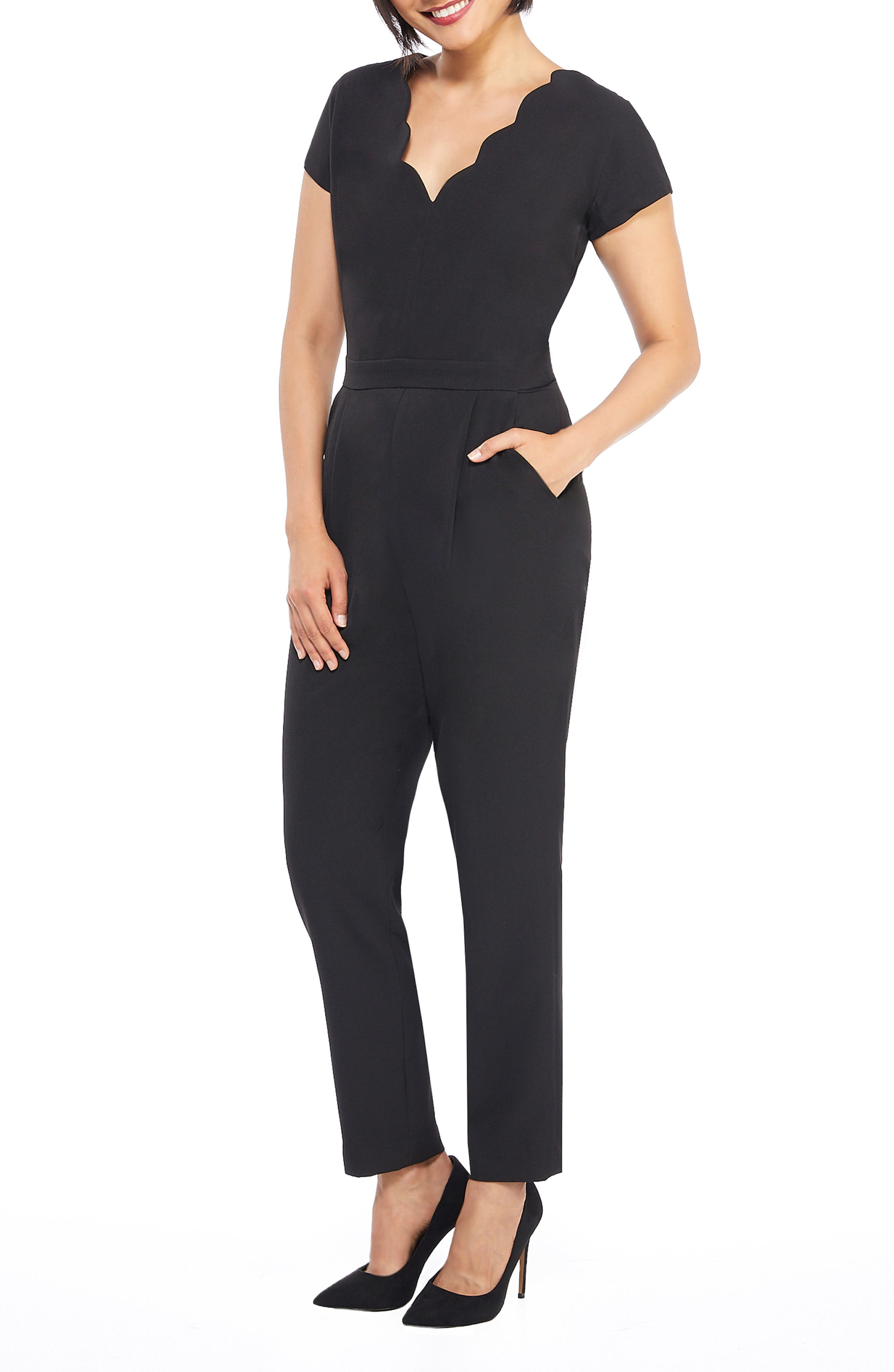 MAGGY LONDON, Crepe Jumpsuit, Alternate thumbnail 5, color, 001