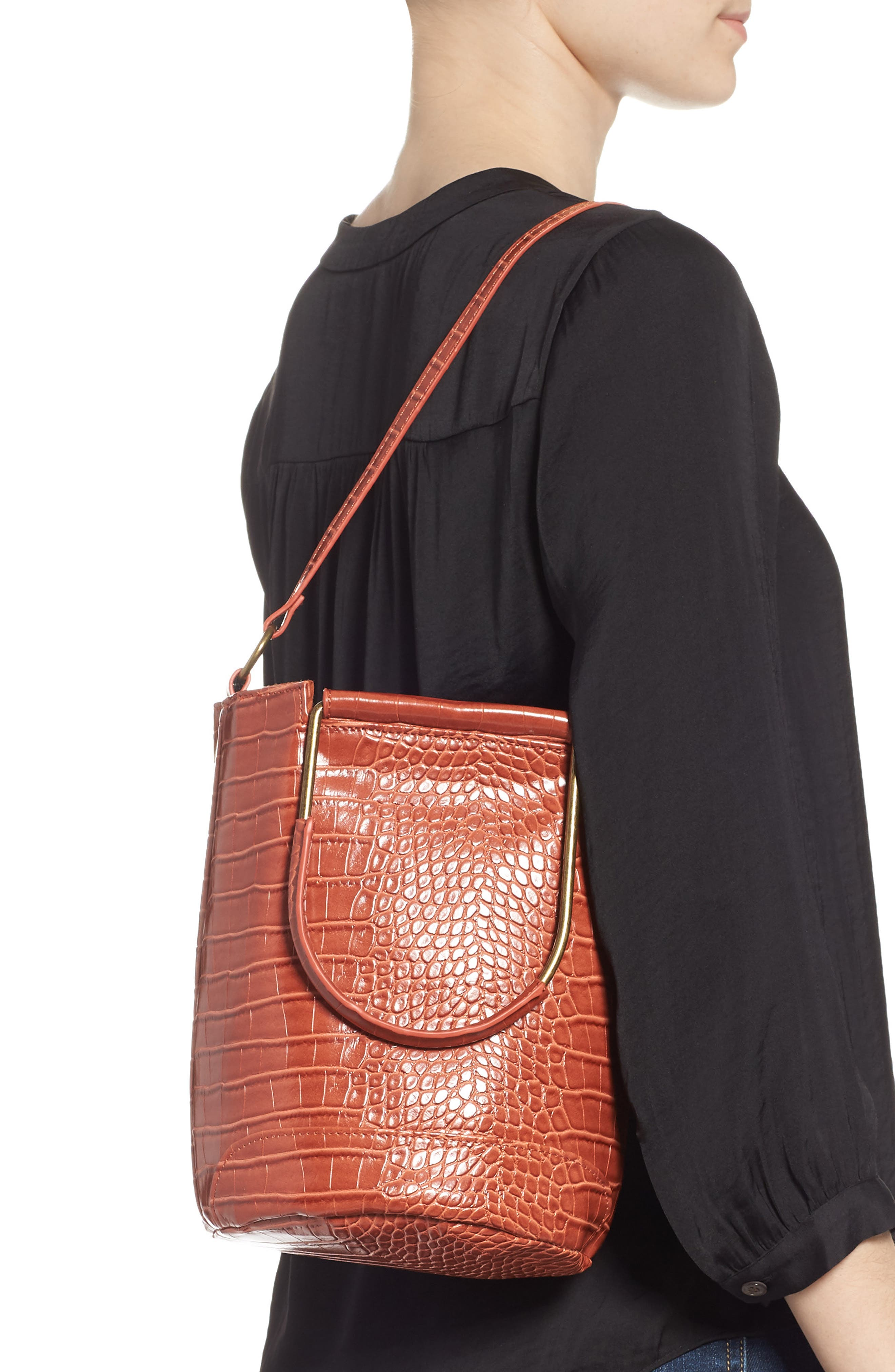 T-SHIRT & JEANS, Croc Embossed Faux Leather Tote, Alternate thumbnail 2, color, 810