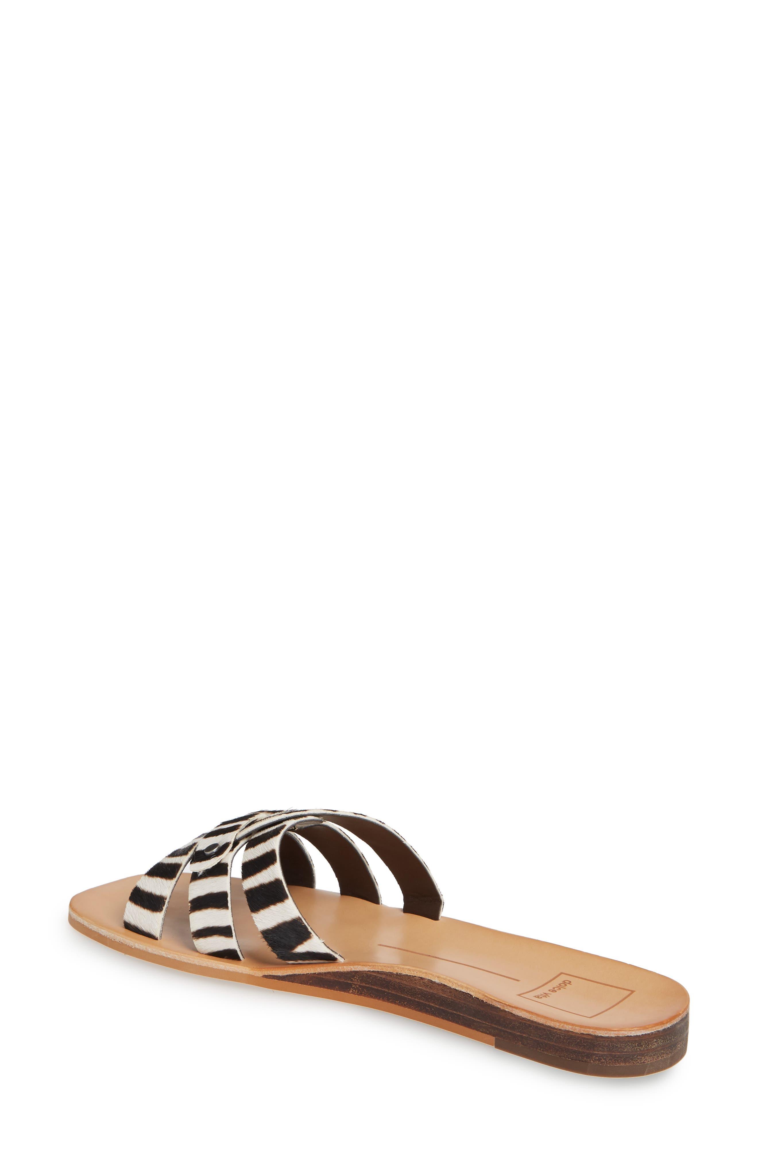 DOLCE VITA, Cait Genuine Calf Hair Slide Sandal, Alternate thumbnail 2, color, ZEBRA PRINT
