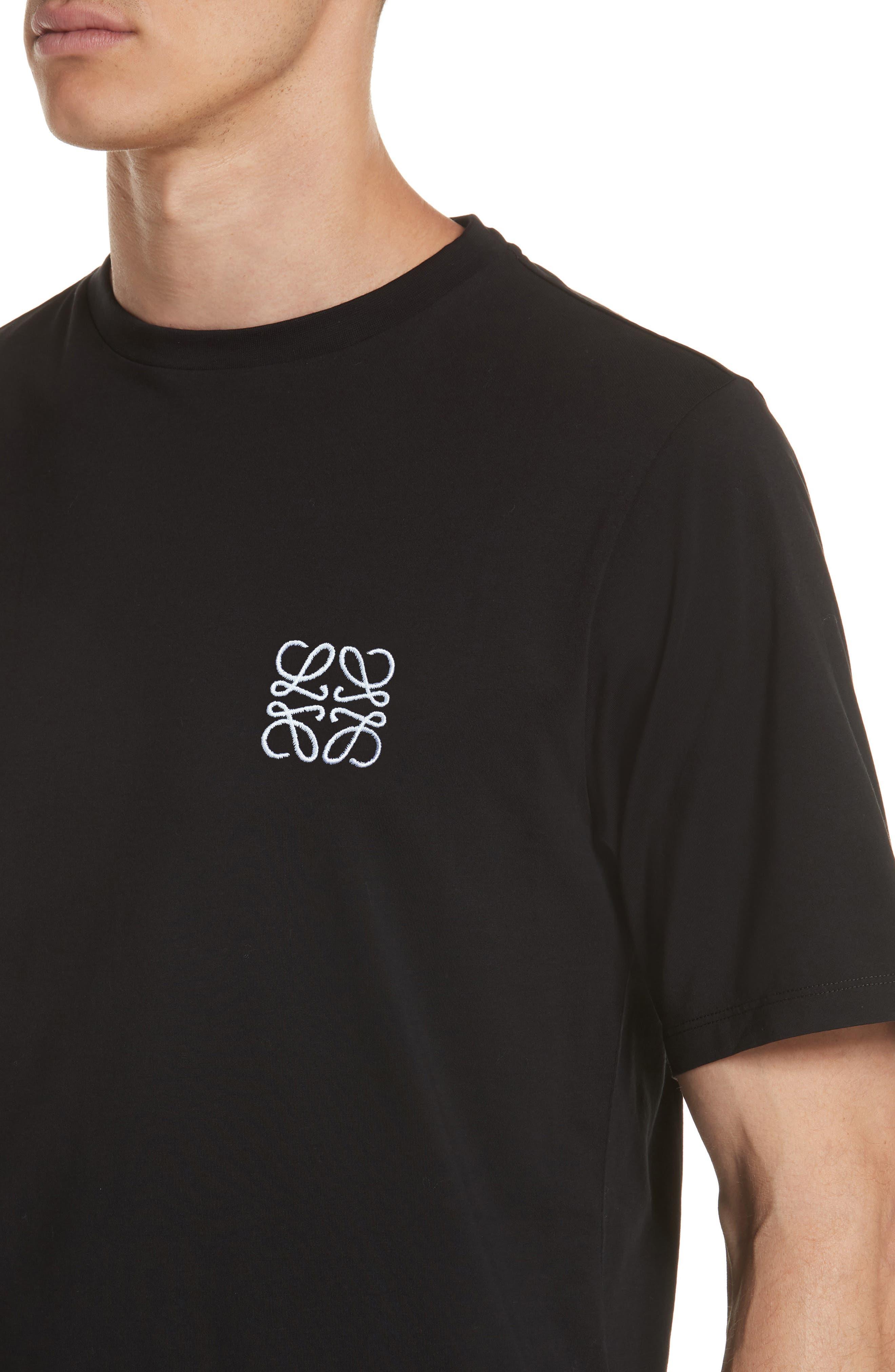 LOEWE, Anagram Logo T-Shirt, Alternate thumbnail 4, color, BLACK
