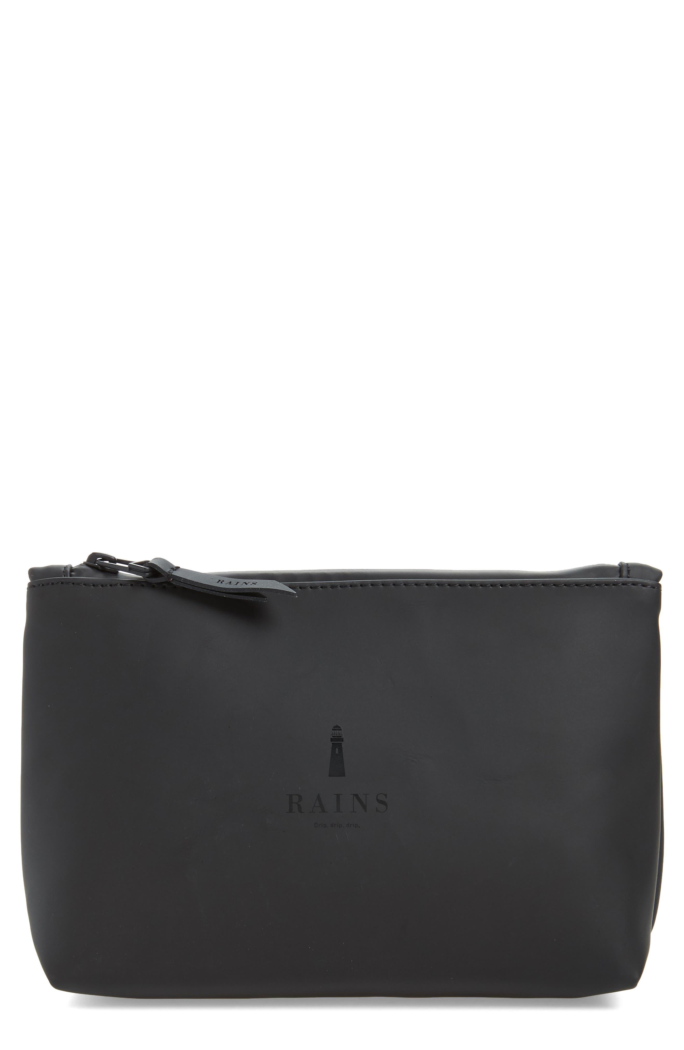 RAINS, Waterproof Cosmetics Bag, Main thumbnail 1, color, BLACK