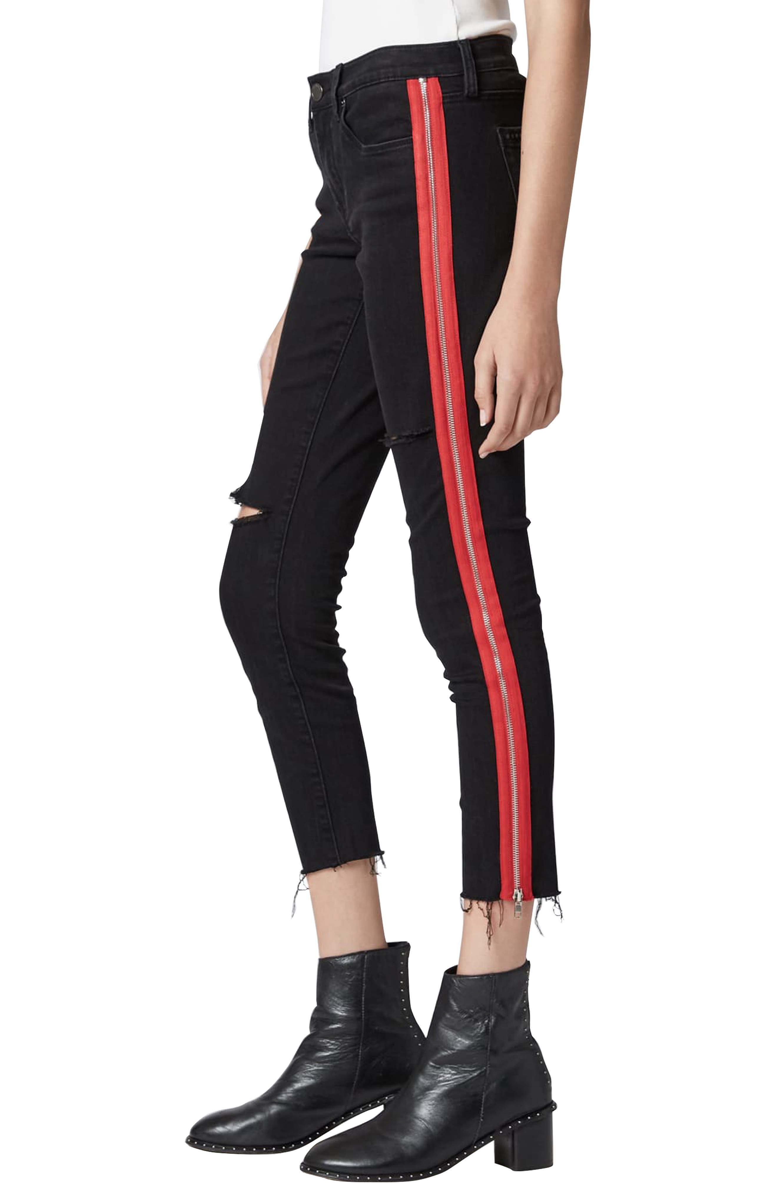 BLANKNYC, The Bond Side Zip Ripped Skinny Jeans, Alternate thumbnail 3, color, 001