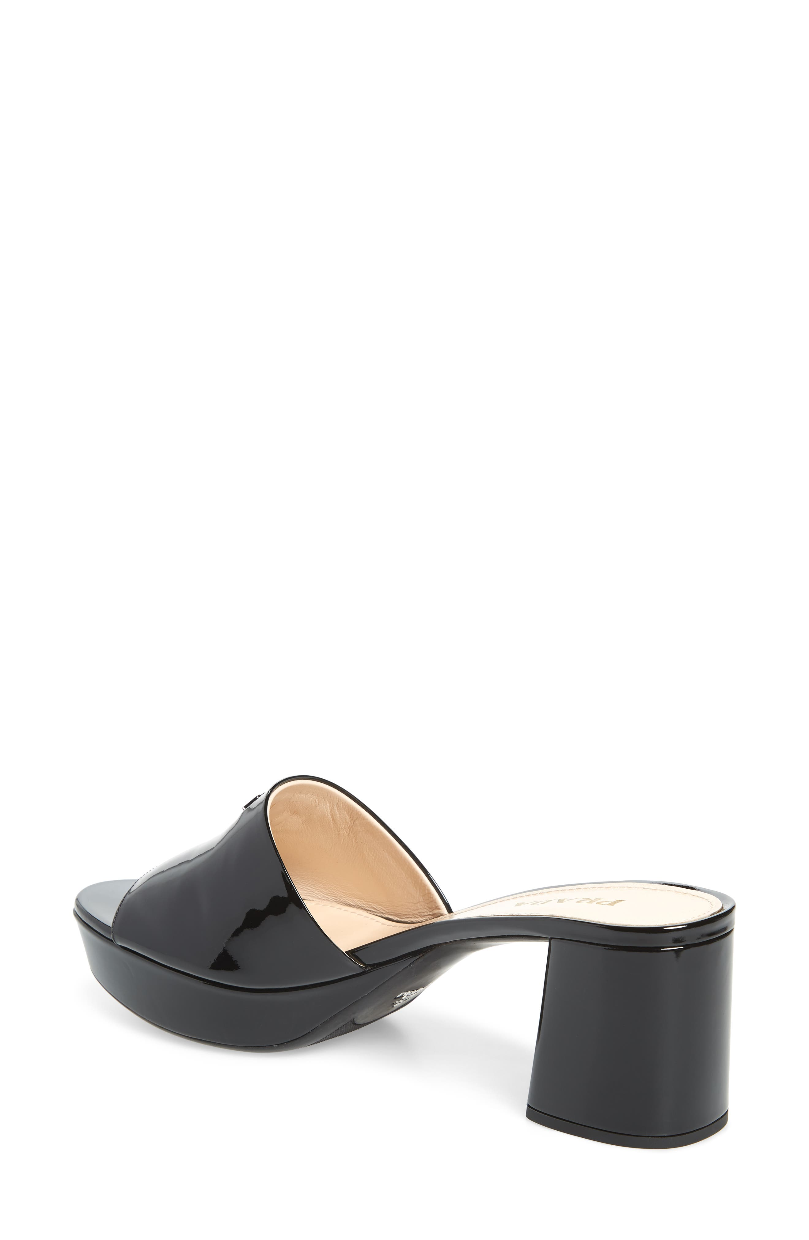 PRADA, Platform Slide Sandal, Alternate thumbnail 2, color, BLACK PATENT