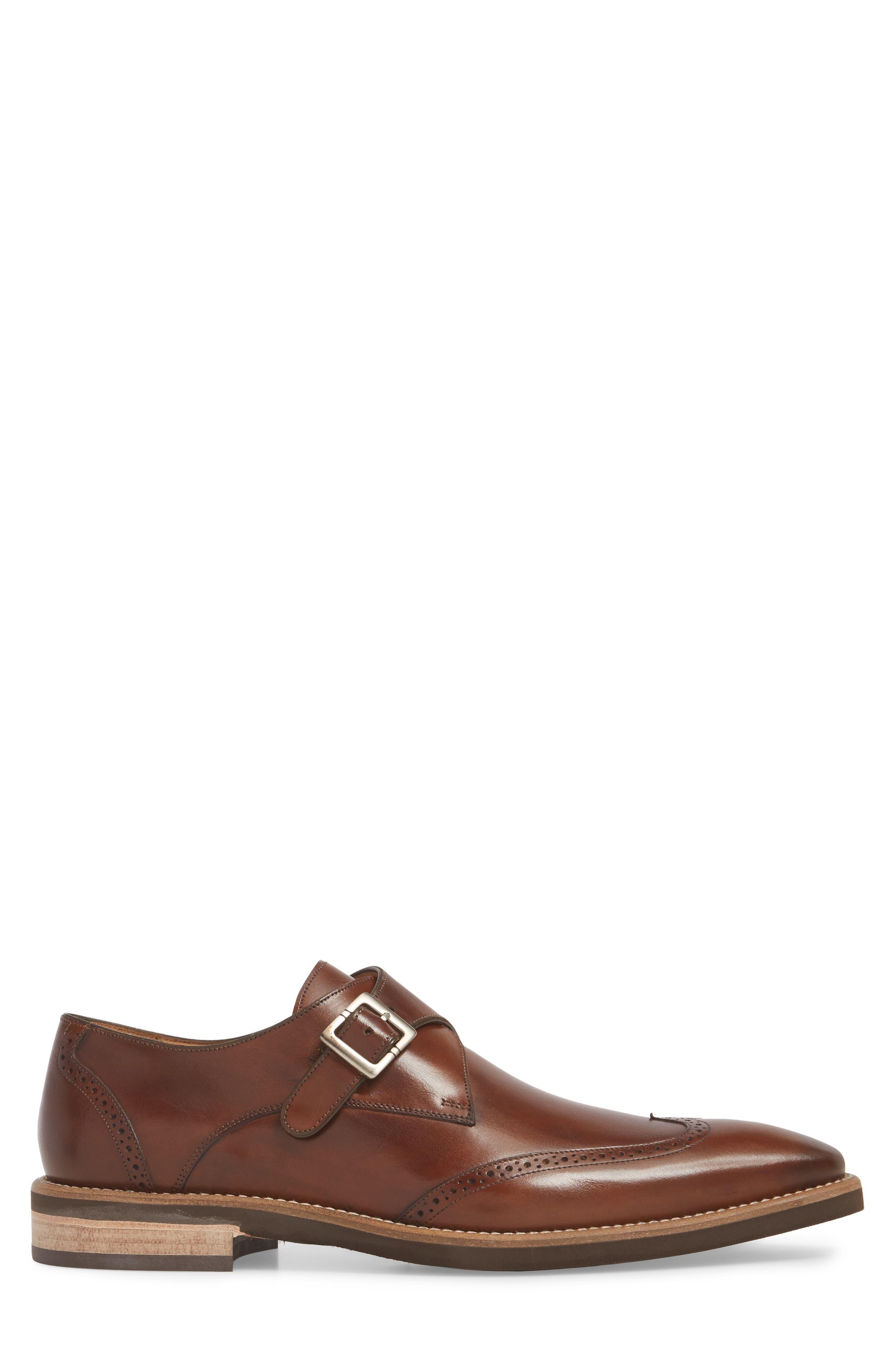 MEZLAN, Feresta Wingtip Monk Shoe, Alternate thumbnail 3, color, COGNAC