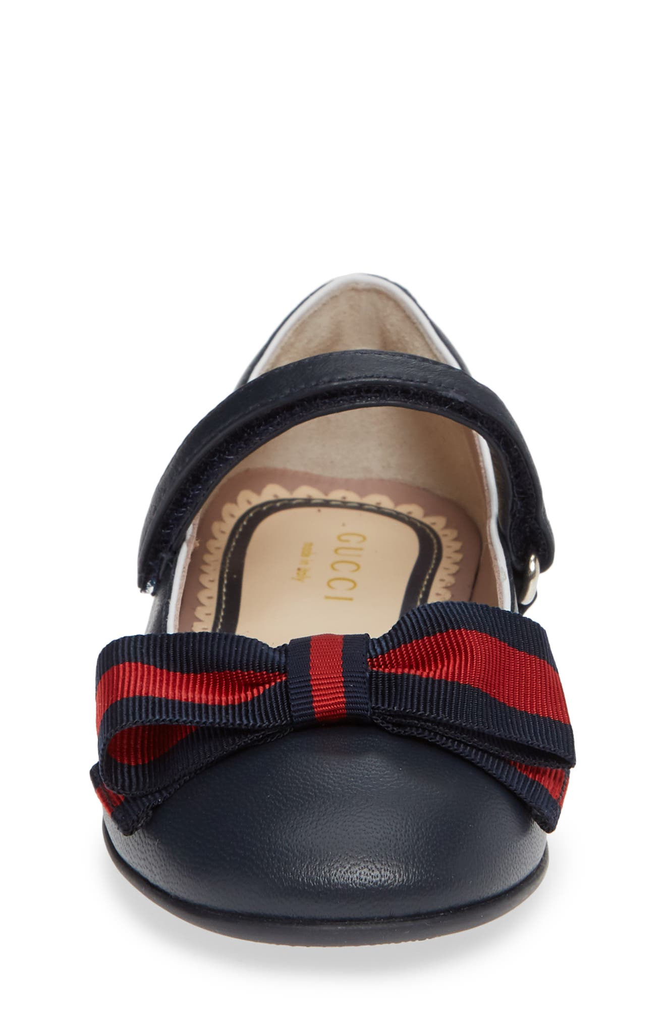GUCCI, Cindy Mary Jane Flat, Alternate thumbnail 4, color, BLUE/ GREAT WHITE/ RED