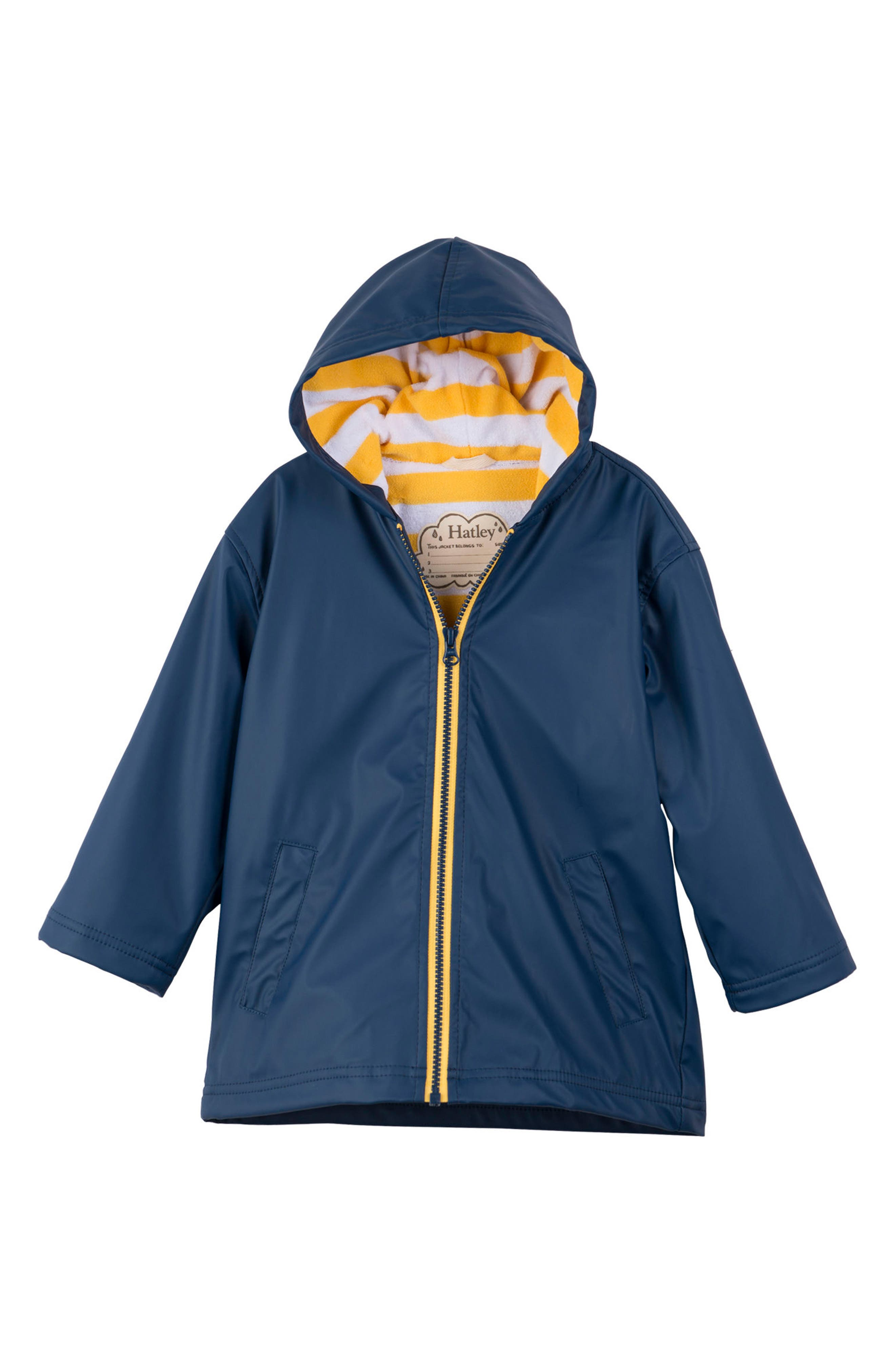 HATLEY, Splash Hooded Raincoat, Main thumbnail 1, color, NAVY/ YELLOW
