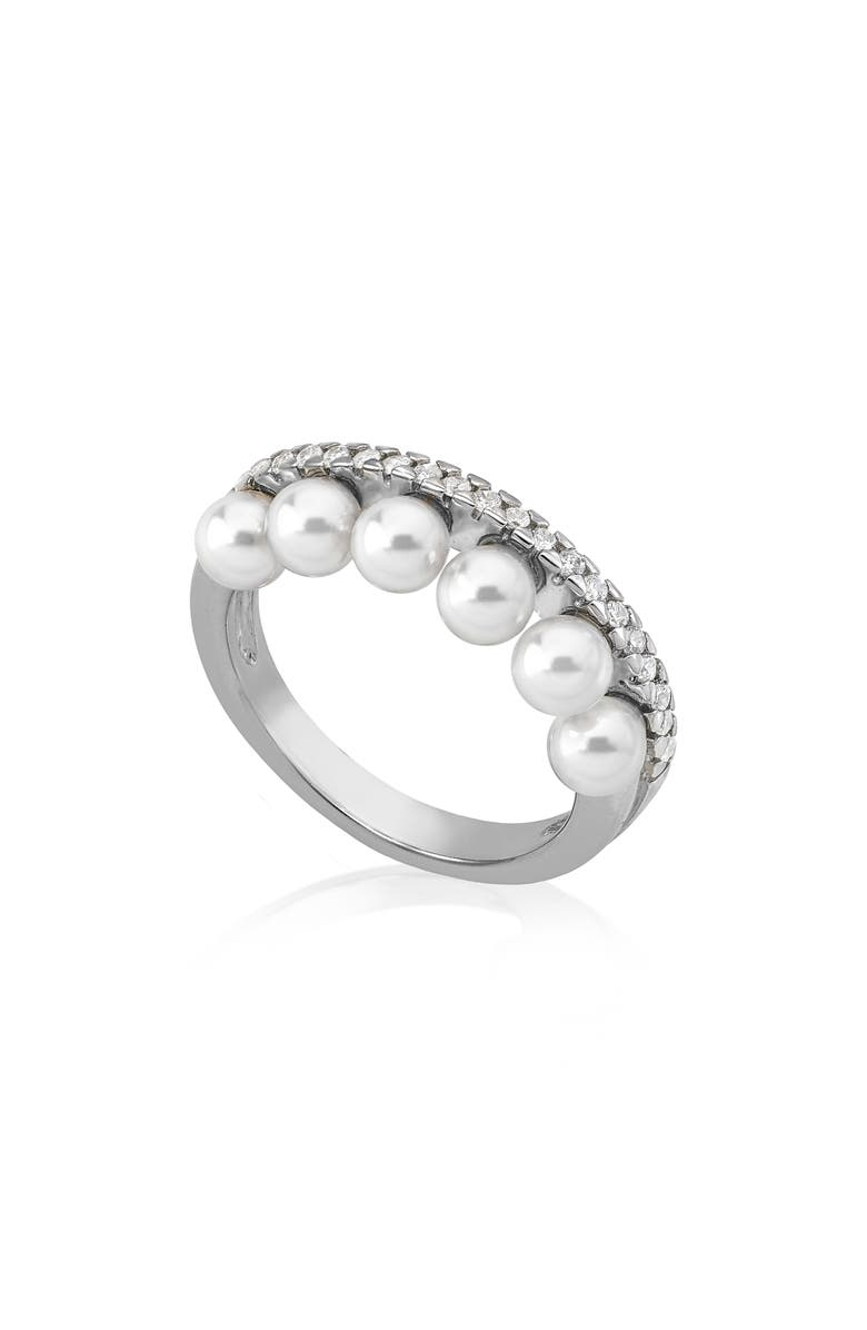 Majorica Accessories SIMULATED PEARL & CUBIC ZIRCONIA BAND RING