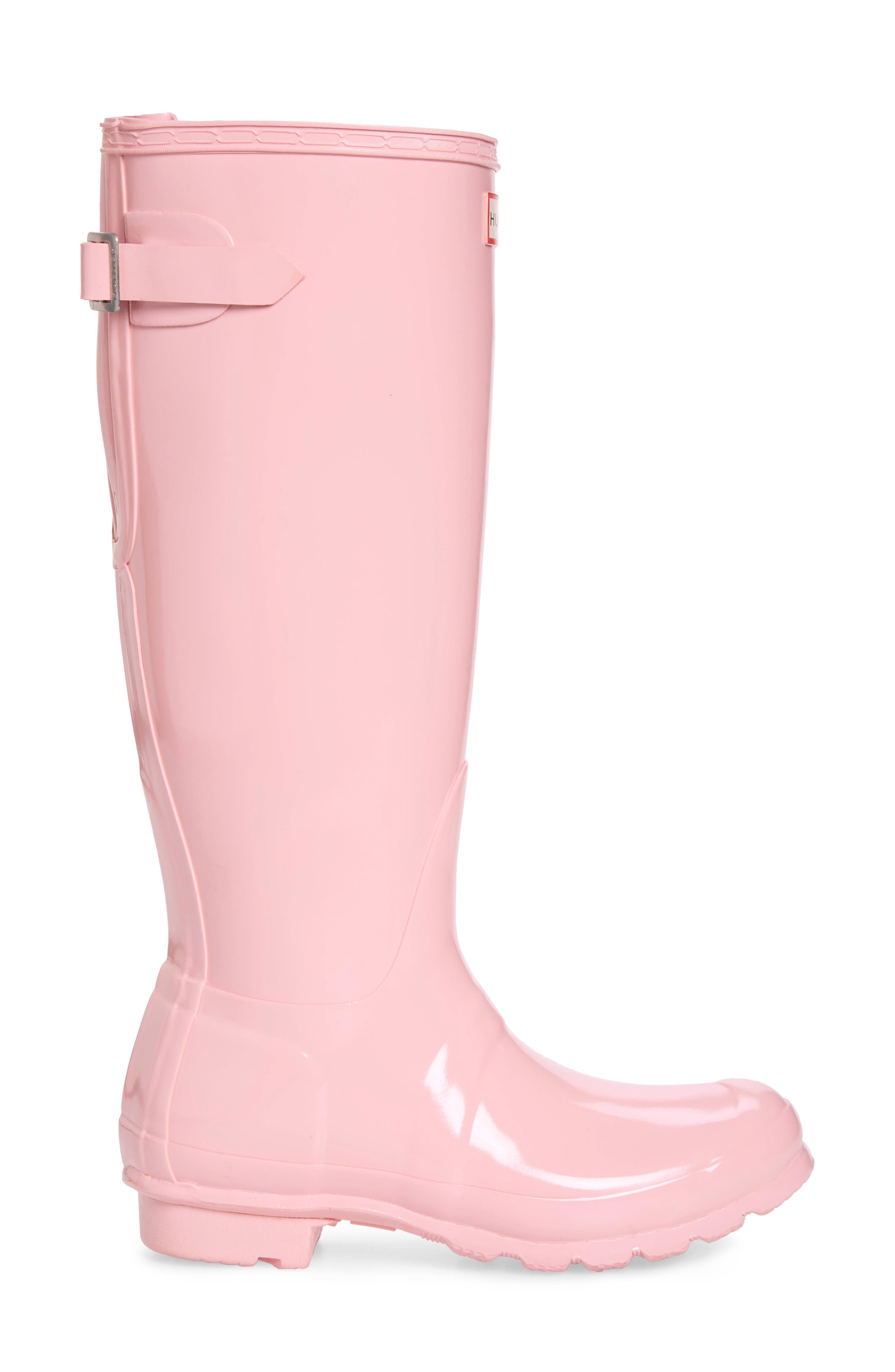 HUNTER, Adjustable Back Gloss Waterproof Rain Boot, Alternate thumbnail 3, color, CANDY FLOSS RUBBER