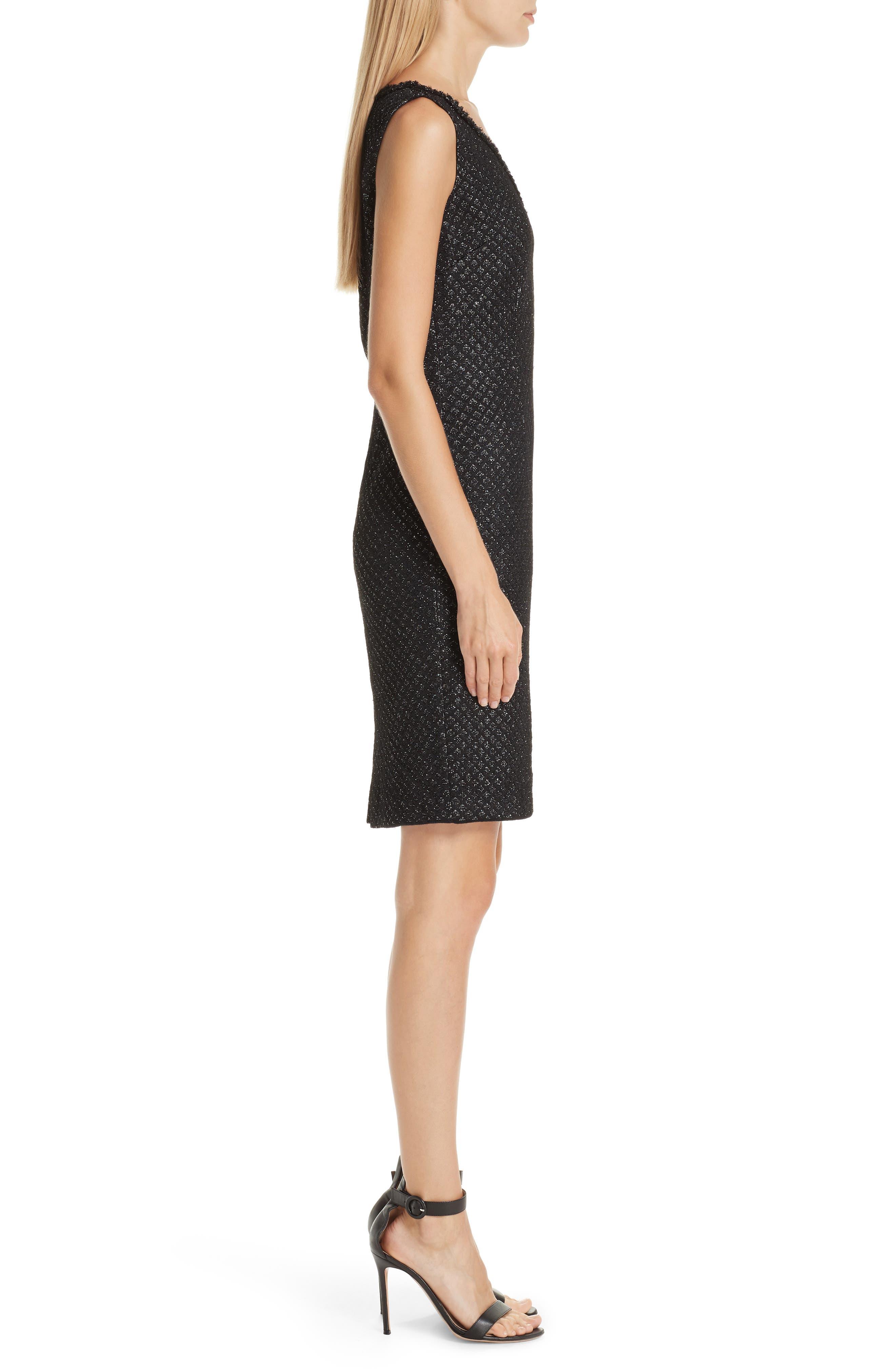 ST. JOHN COLLECTION, Shimmer Inlay Brocade Knit Dress, Alternate thumbnail 3, color, CAVIAR/ SILVER